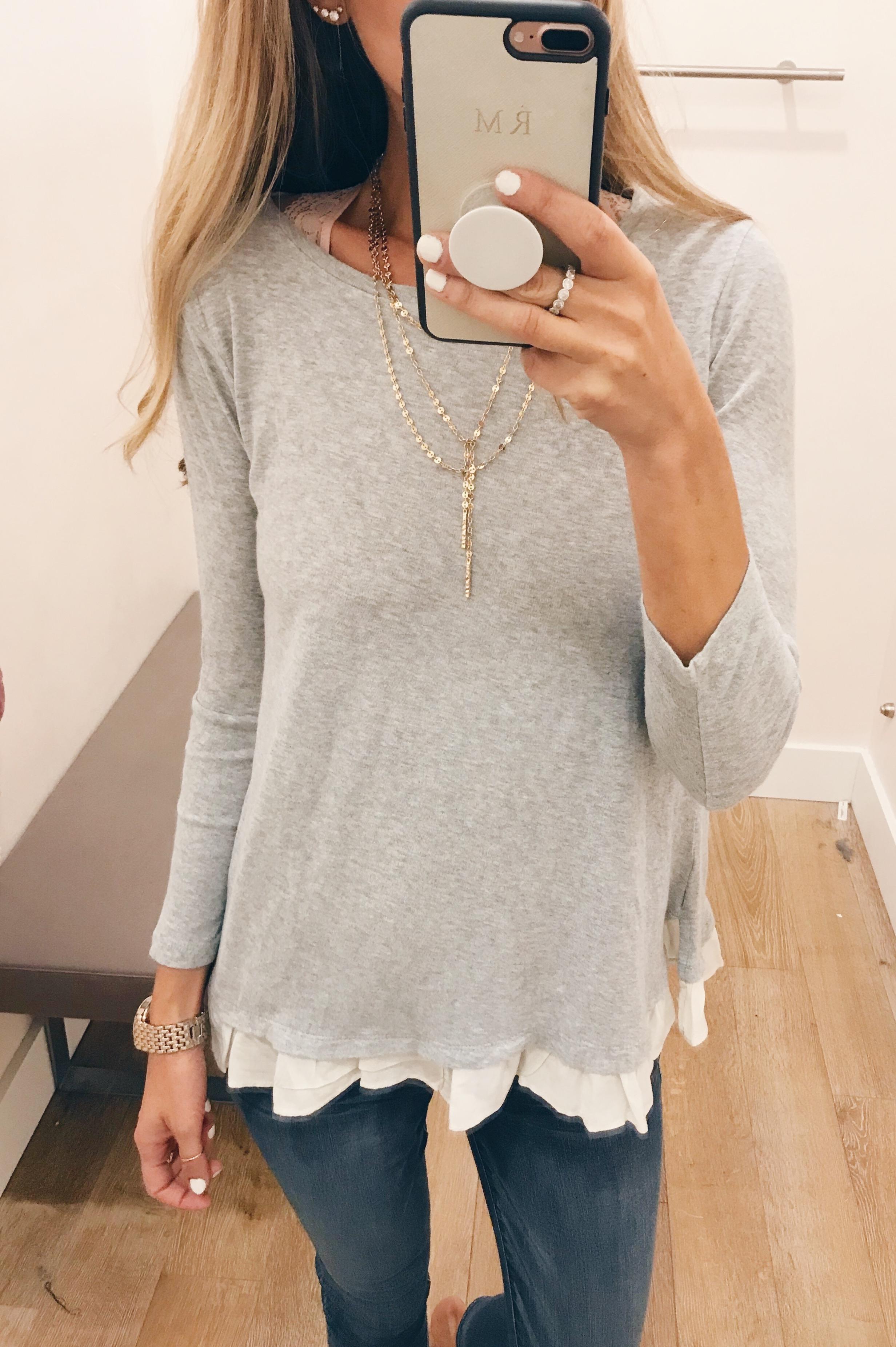 loft august 2018 sale - ruffle hem sweater