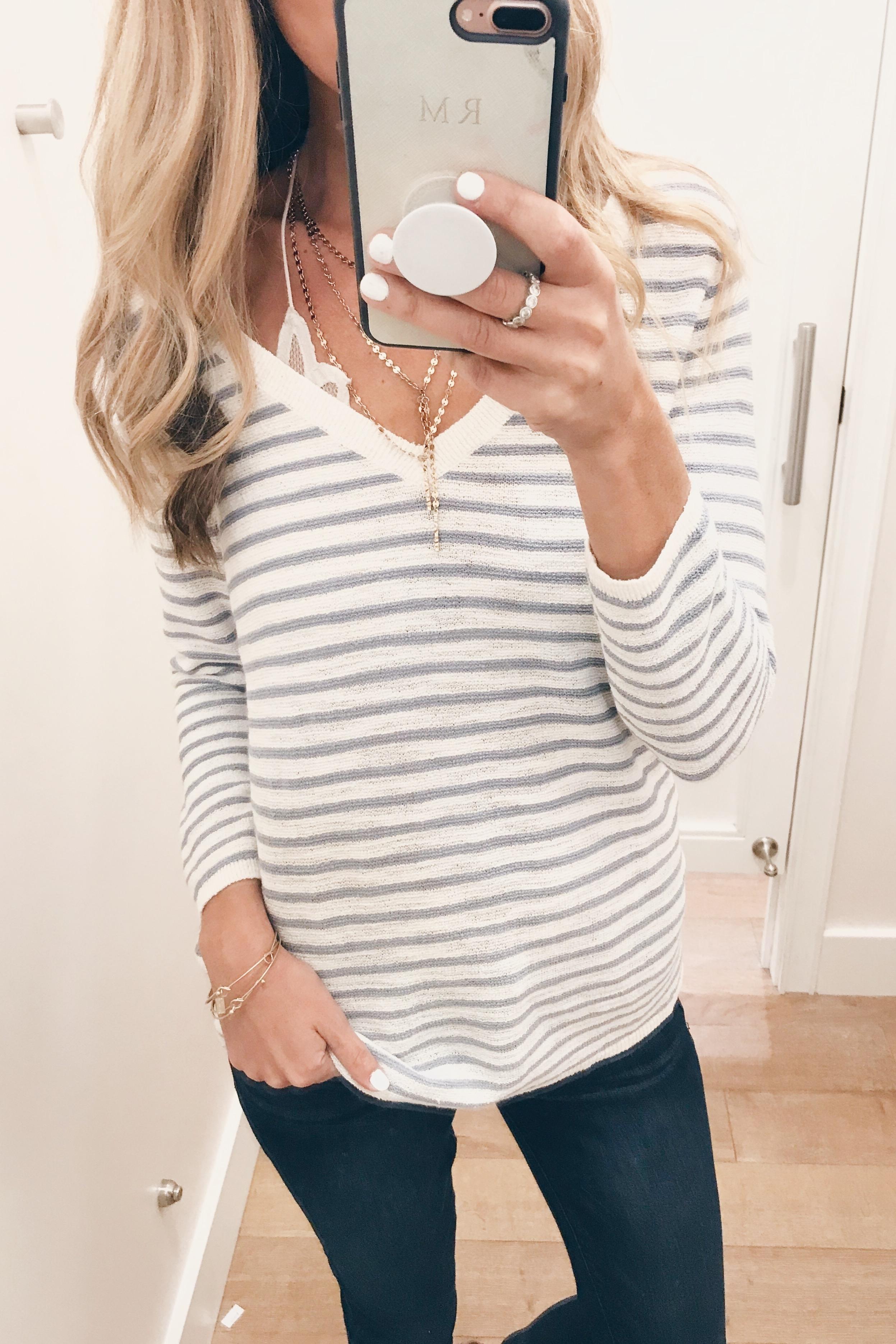 loft sale august 2018 - striped lightweight sweater