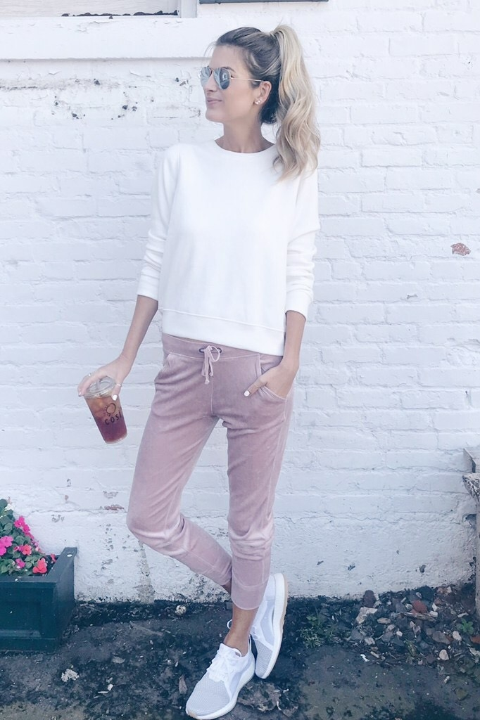 Velvet Joggers Outfit Inspiration | How to Wear Pinks for Fall
