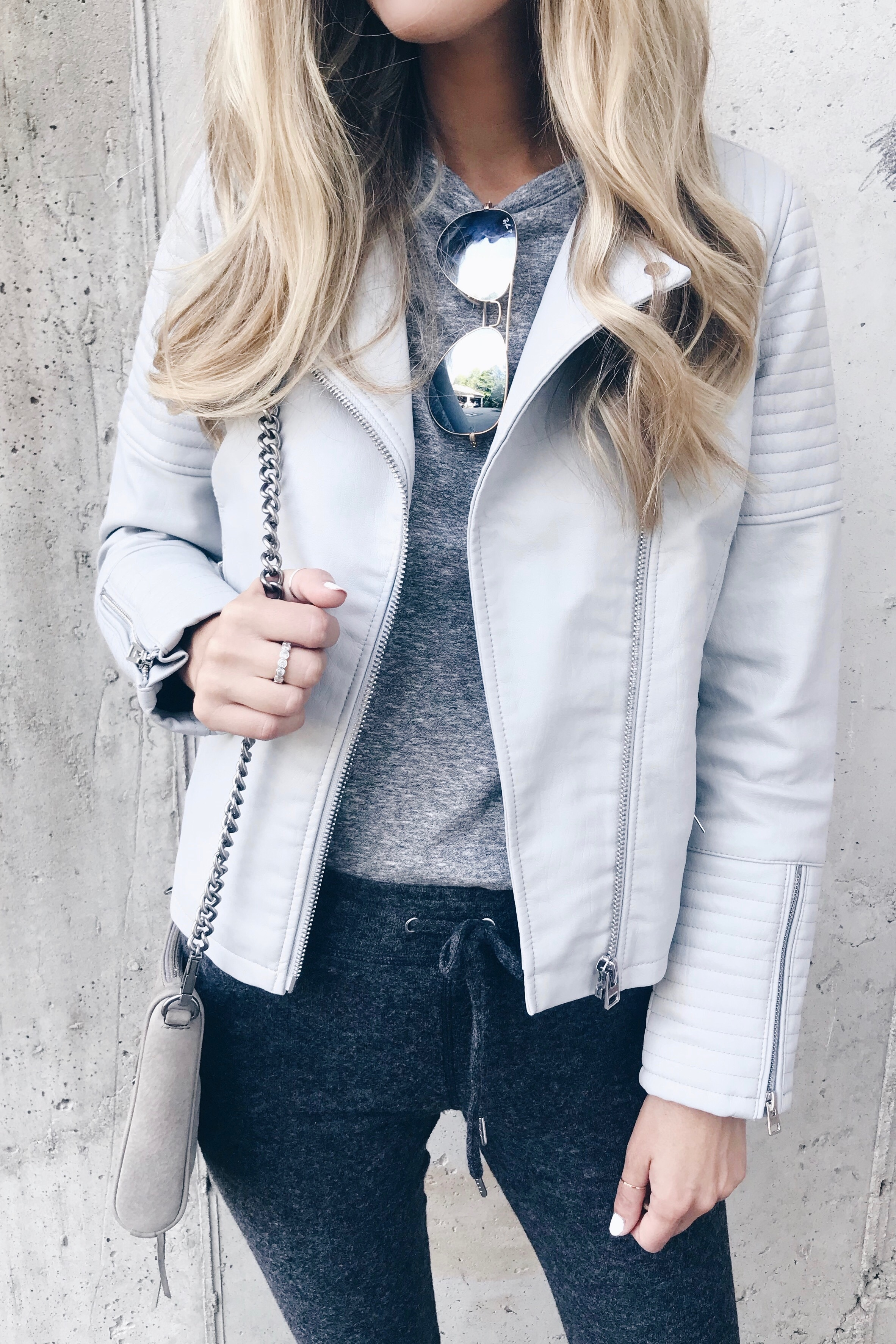 Athleisure outfit - topshop moto jacket and joggers on Pinteresting Plans fashion blog