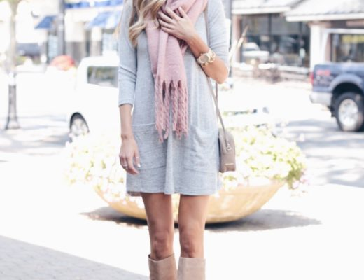 How to Wear Pinks for Fall | Pink Scarf and Gray Fleece shift dress