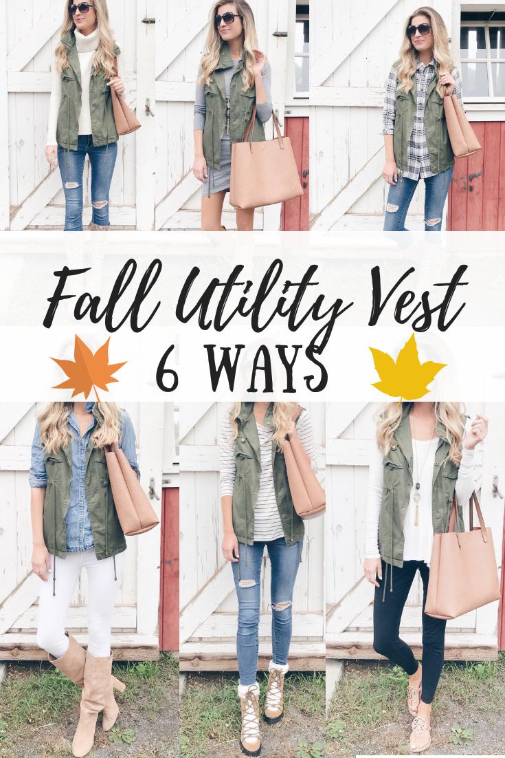 Fall Utility Vest styled 6 ways on Pinteresting plans Connecticut fashion blog