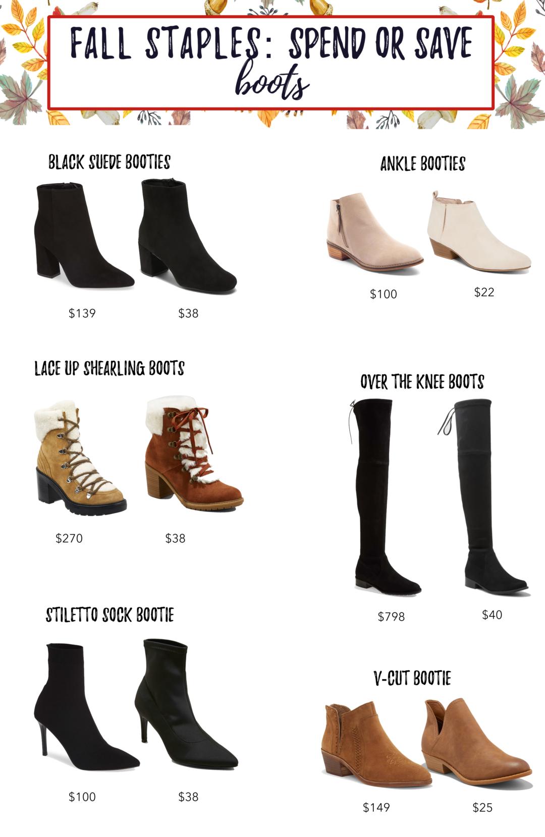 save or splurge fall boots 2018
