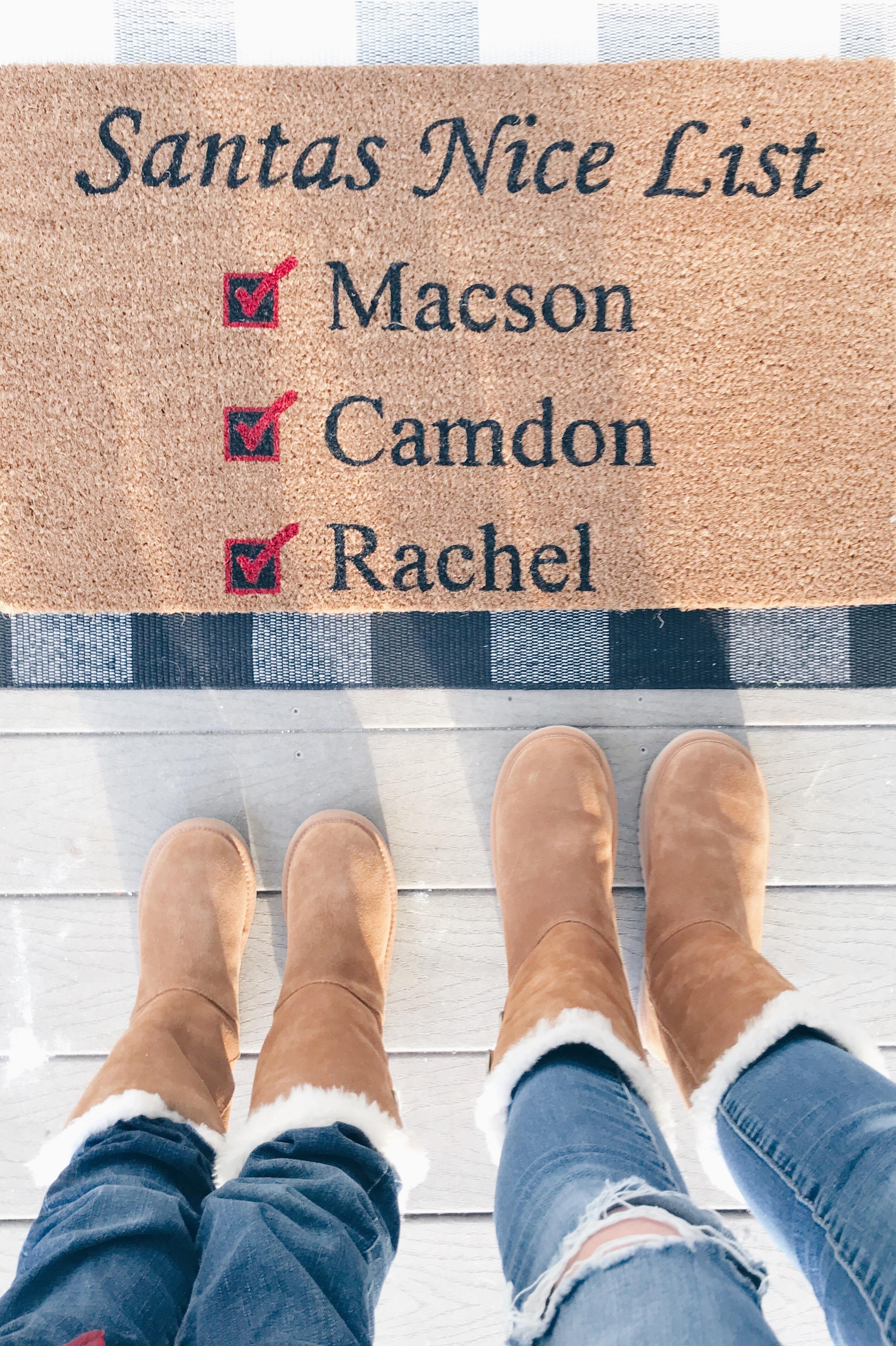 funny christmas door mat and koolaburra boots on pinteresting plans fashion blog
