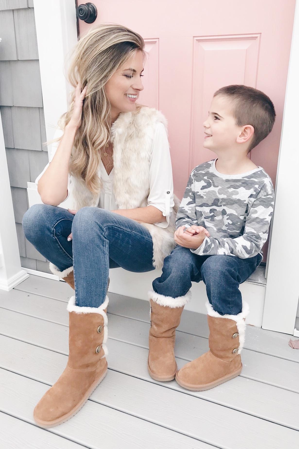 koolaburra boots on mother and son - pinteresting plans fashion blog