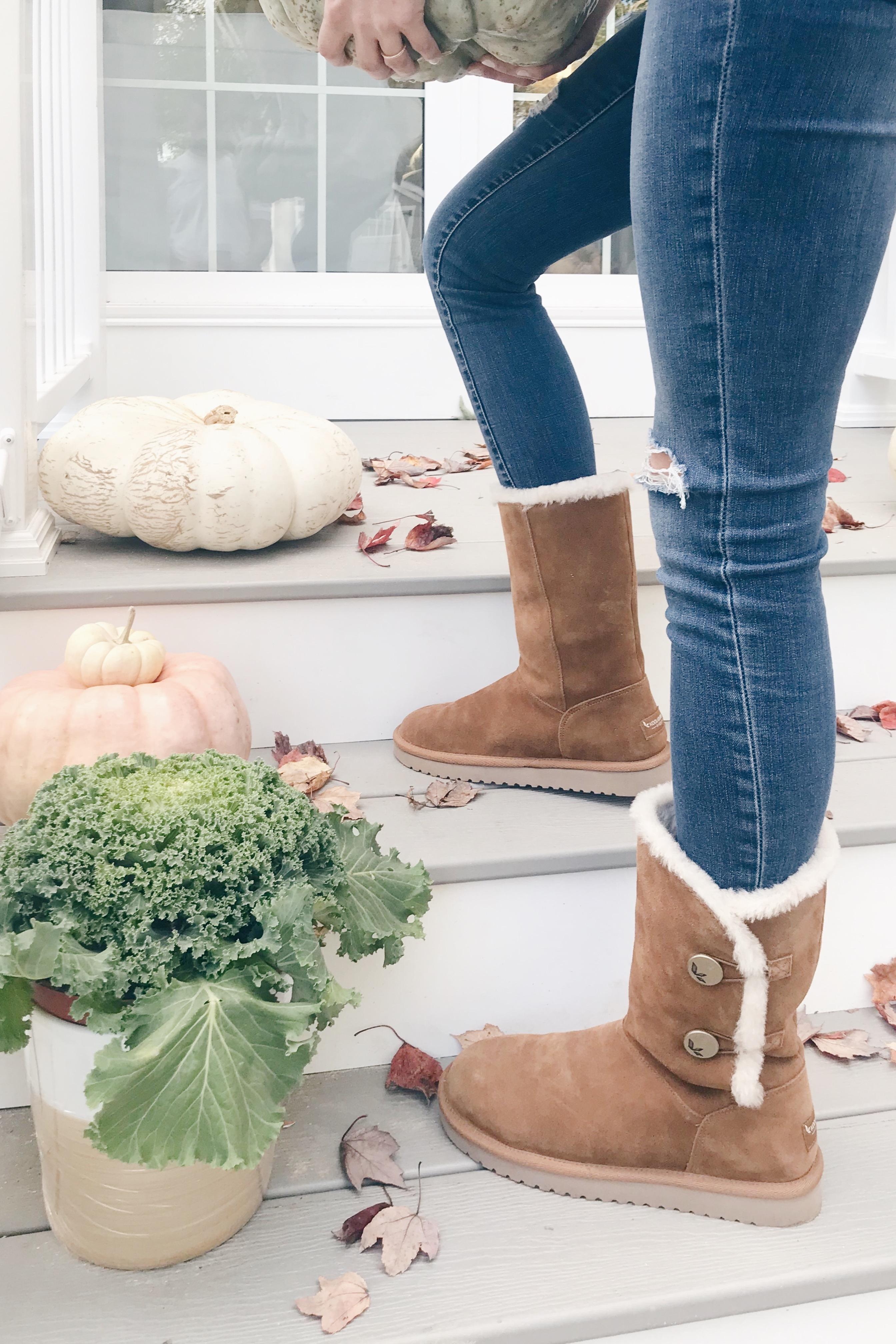 koolaburra women's boots on fall porch
