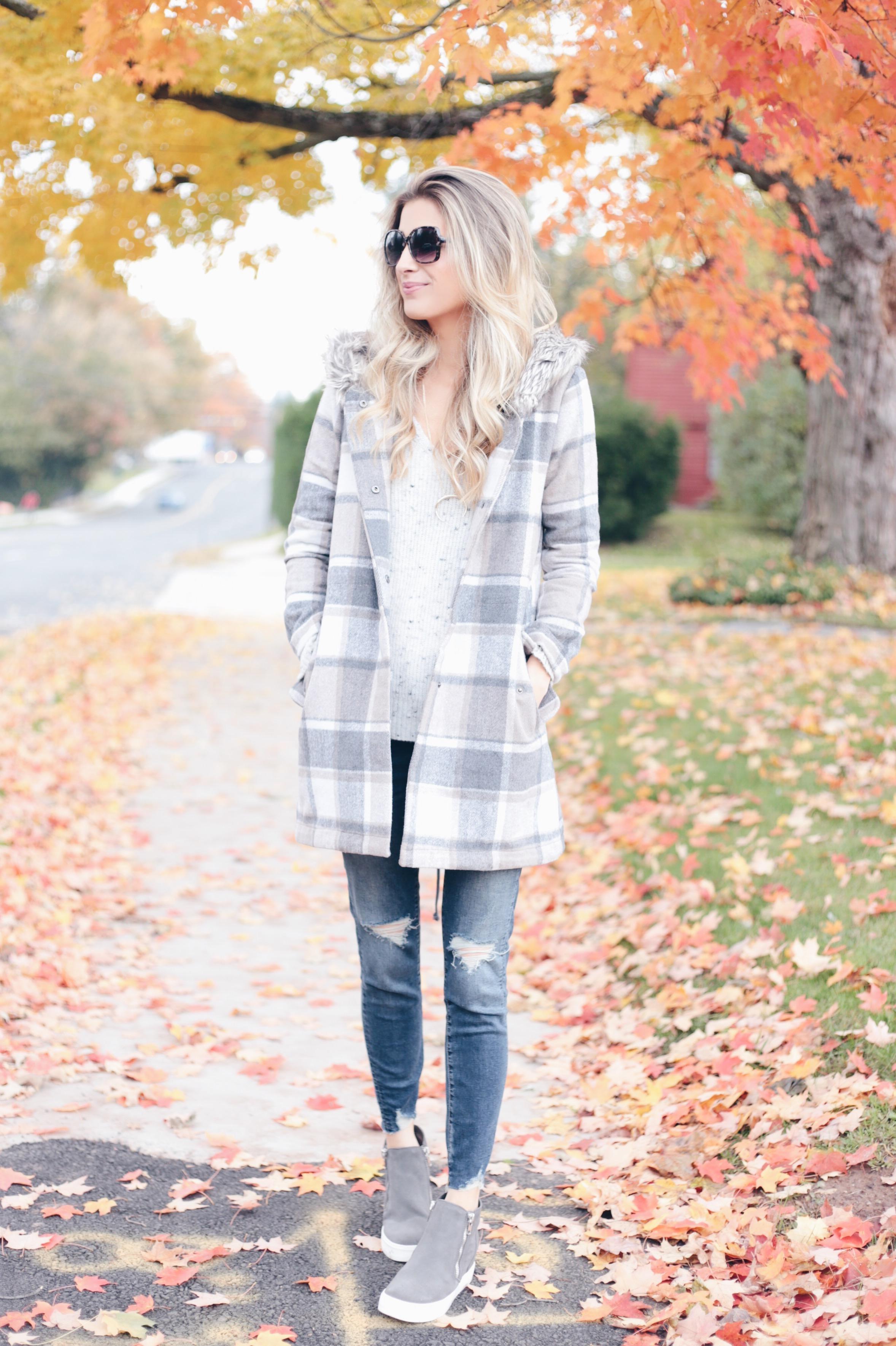statement fall outerwear - neutral plaid fall jacket on pinteresting plans fashion blog