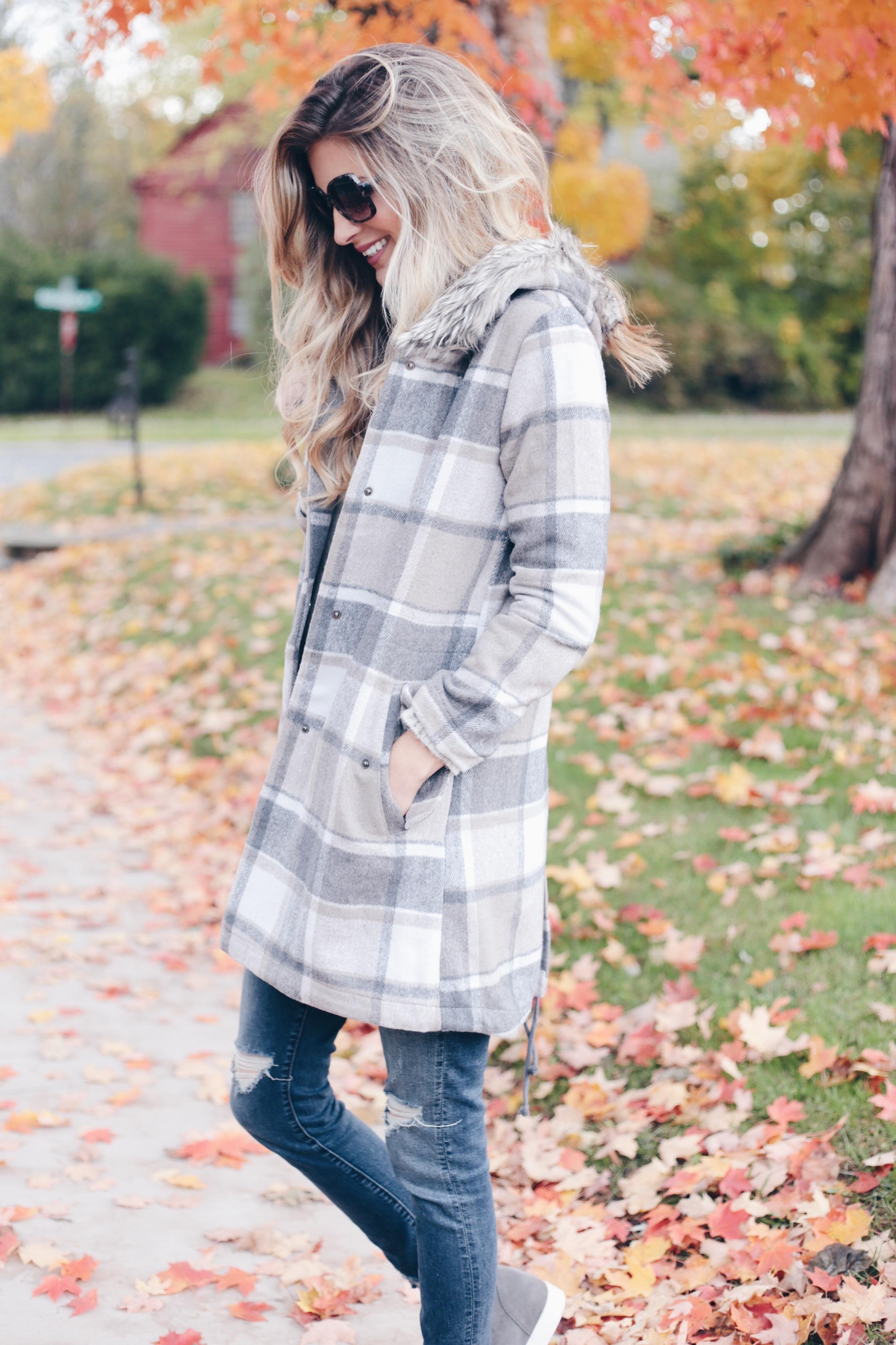 statement fall outerwear - plaid fur trim hooded coat on pinteresting plans connecticut fashion blog