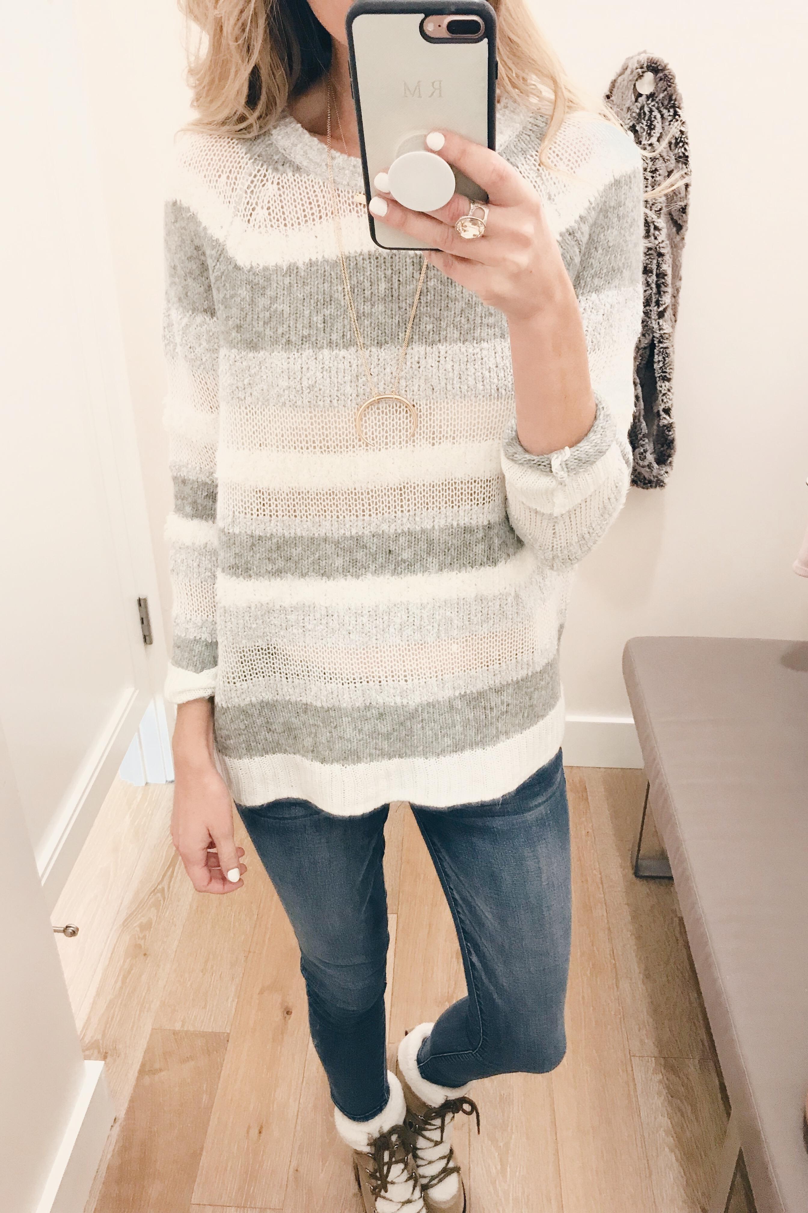 veteran's day weekend sale round up 2018 striped neutral sweater