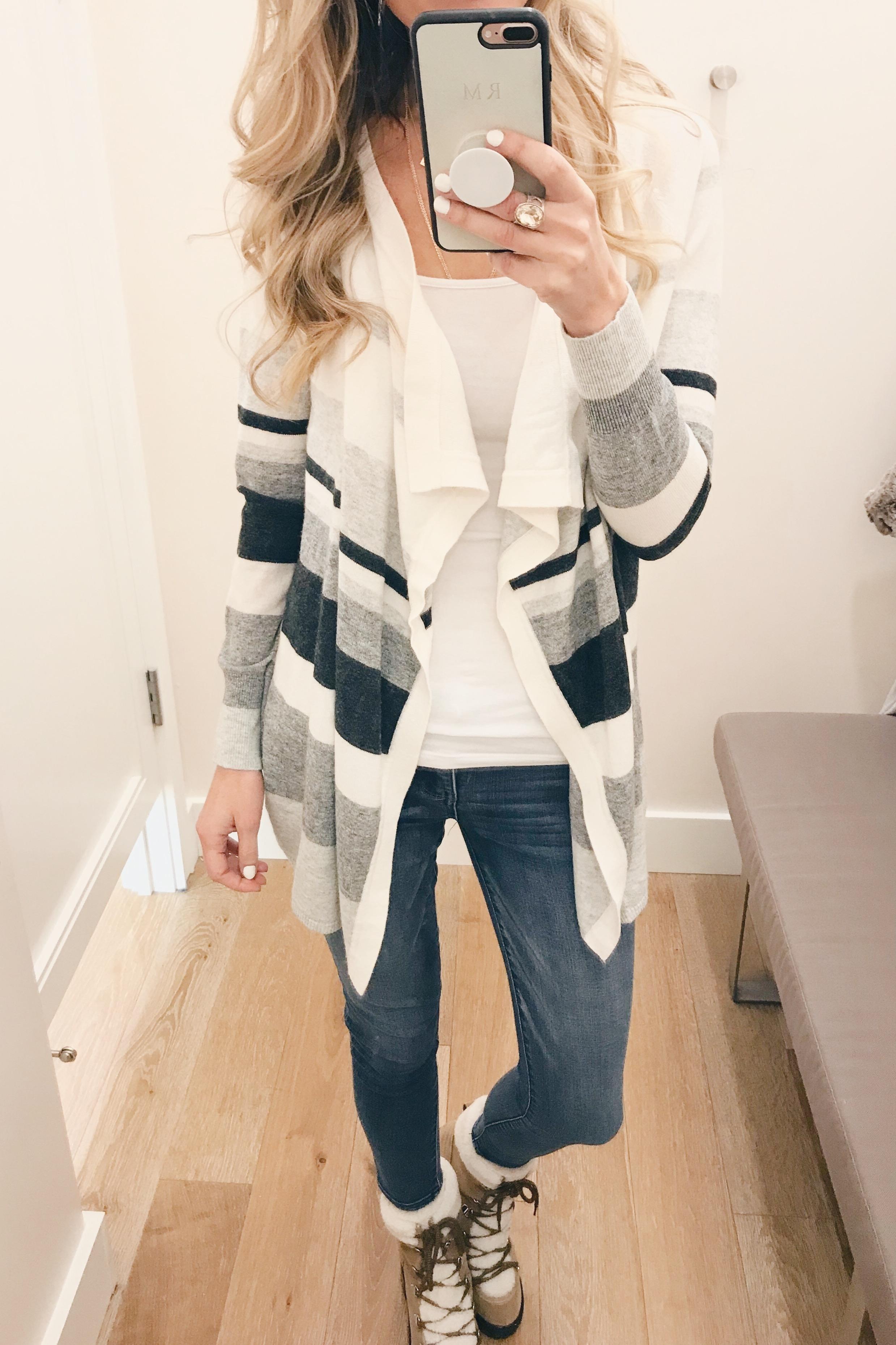 veteran's day weekend sale round up 2018 striped drape cardigan