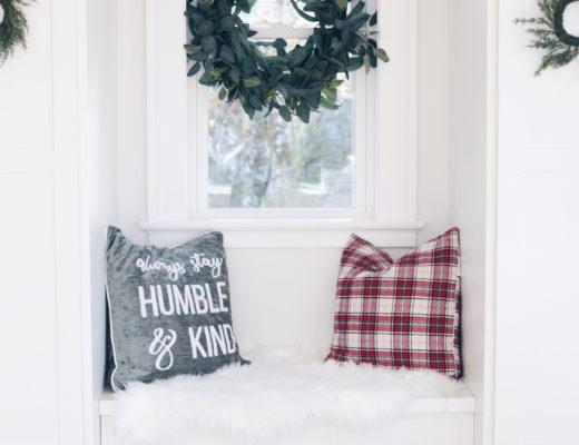 holiday mudroom decor - cozy bench seat on pinteresting plans blog
