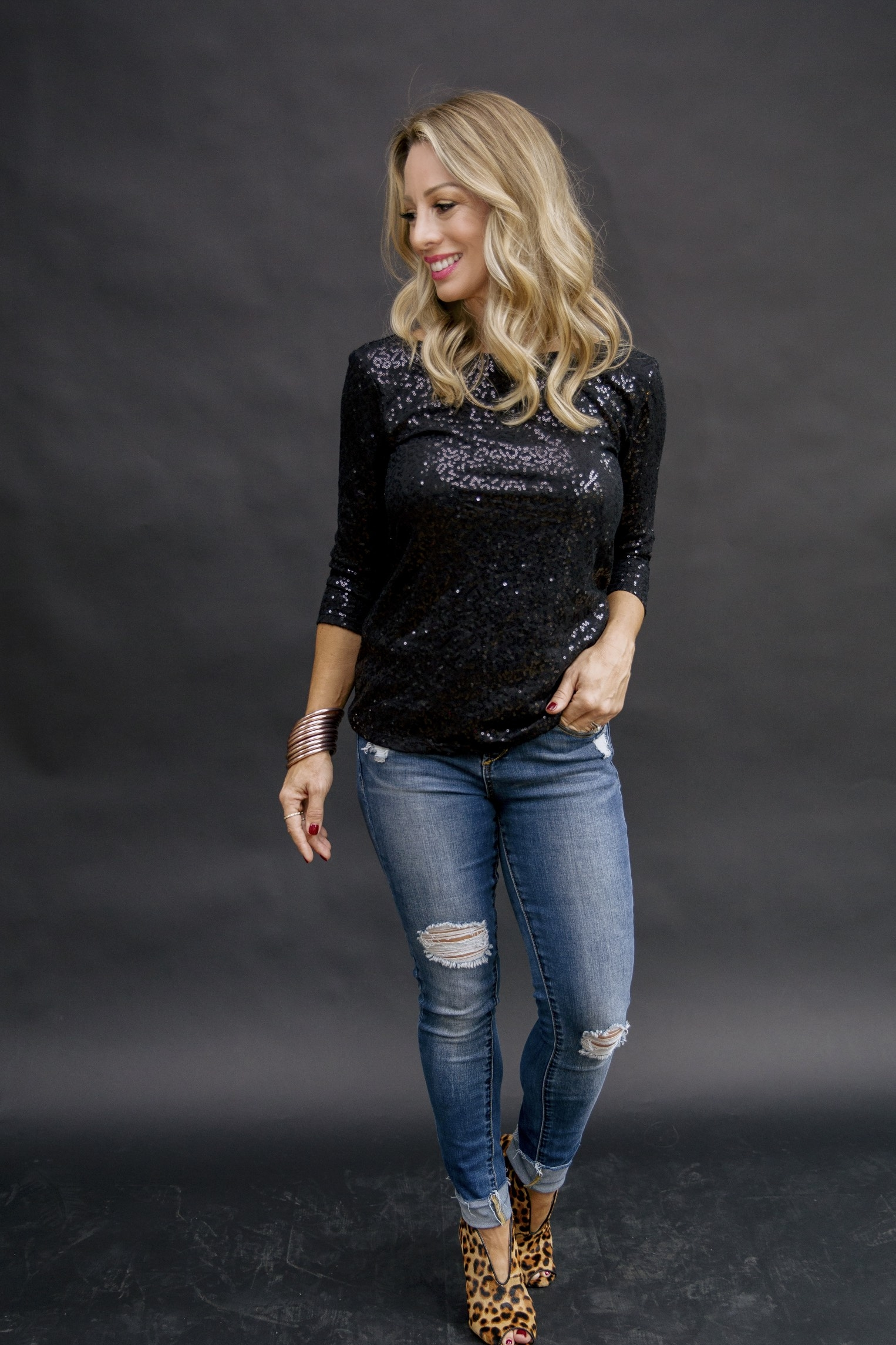 holiday outfit ideas from the gibson glam collect - the megan sequin top in black