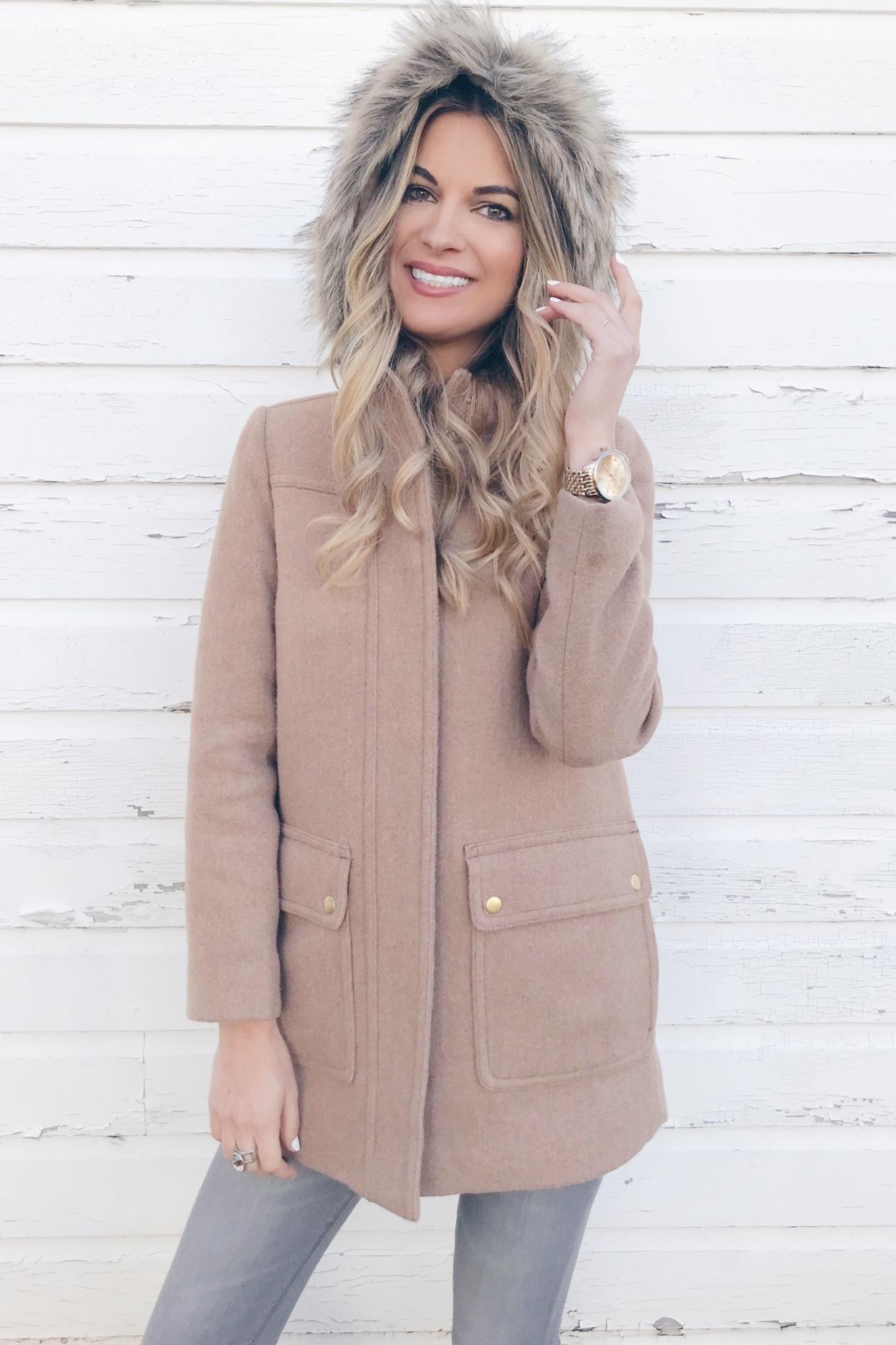 veteran's day sale round up - women's faux fur trim hooded camel coat