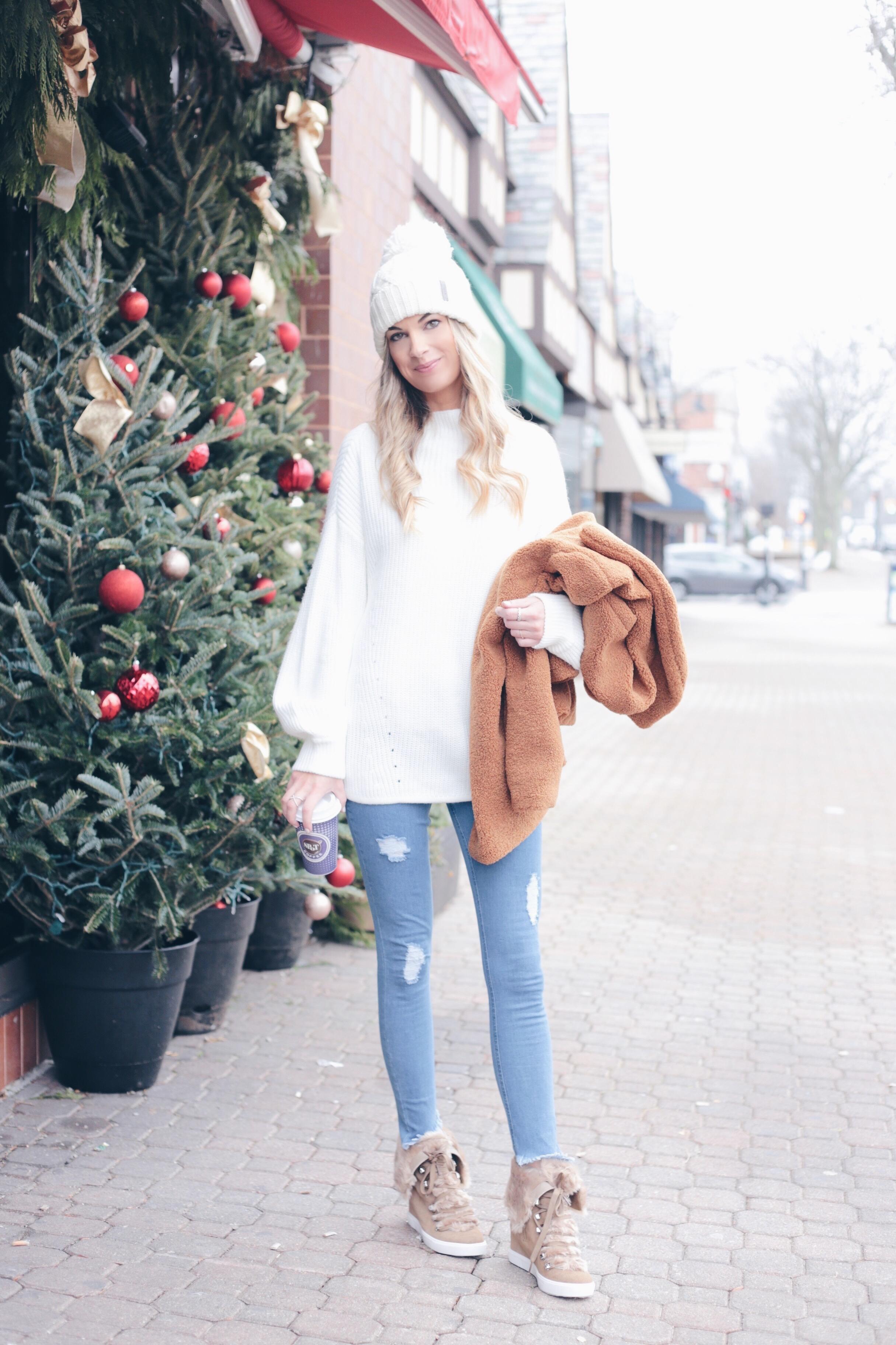 Teddy Bear Coat Outfit Ideas | Winter Style Blog