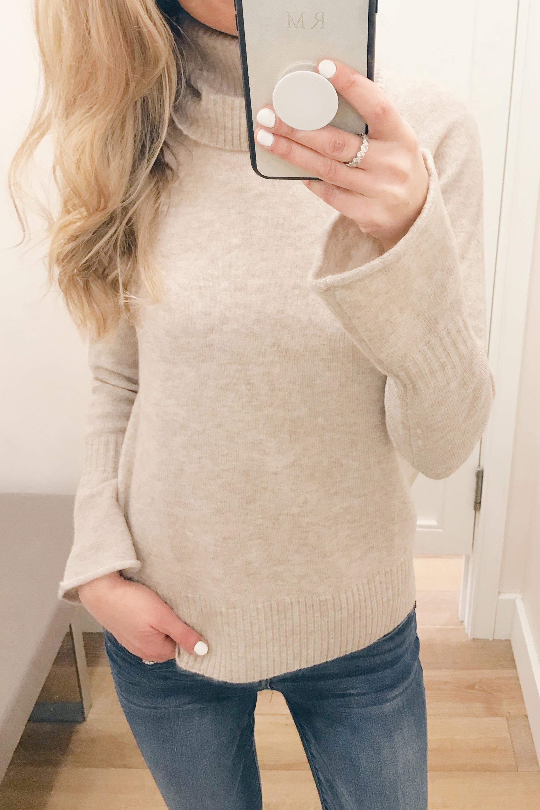 Pre Christmas Weekend Sales - Bell Sleeve Turtleneck sweater