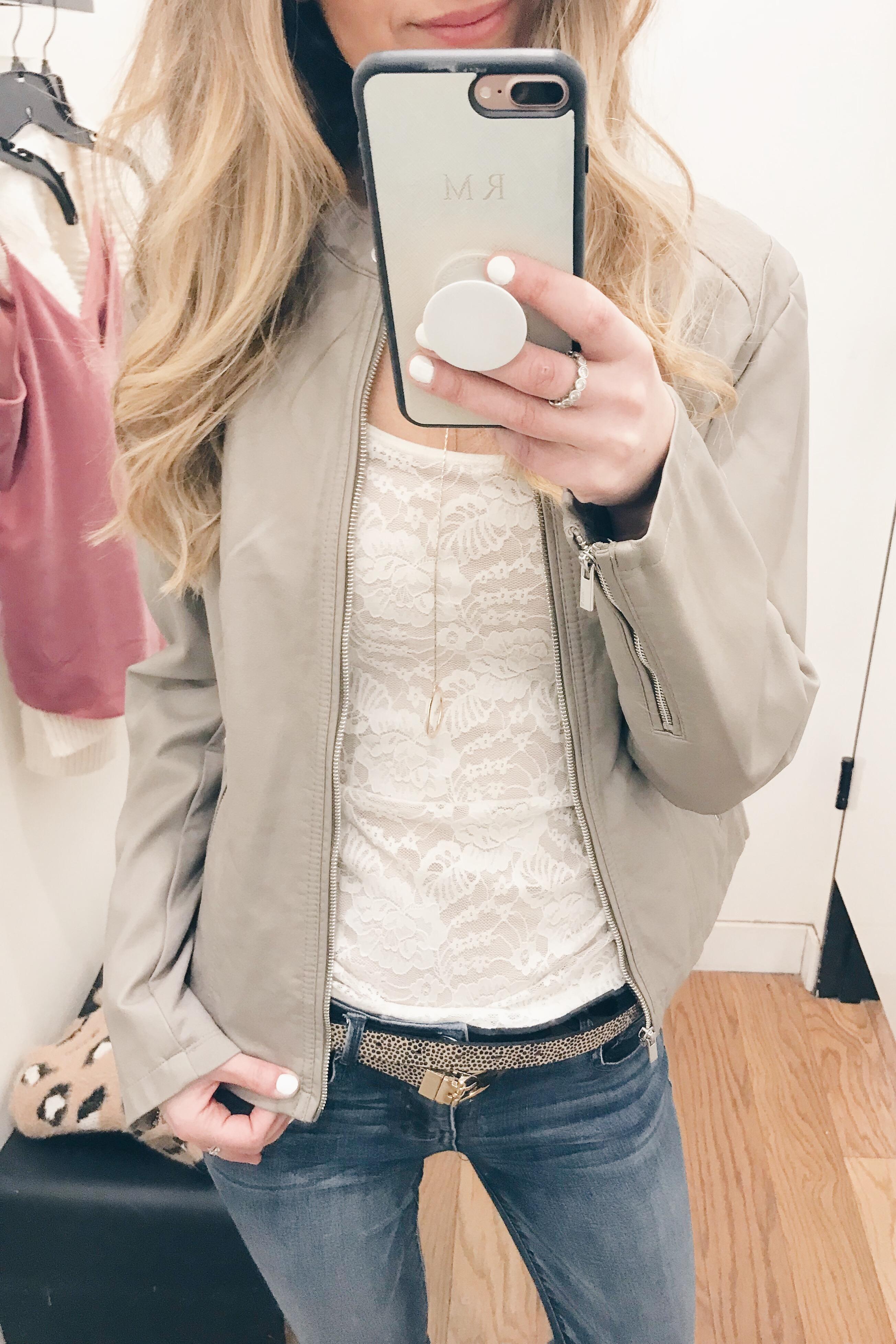 Pre Christmas Weekend Sales - Lace tank/Moto jacket