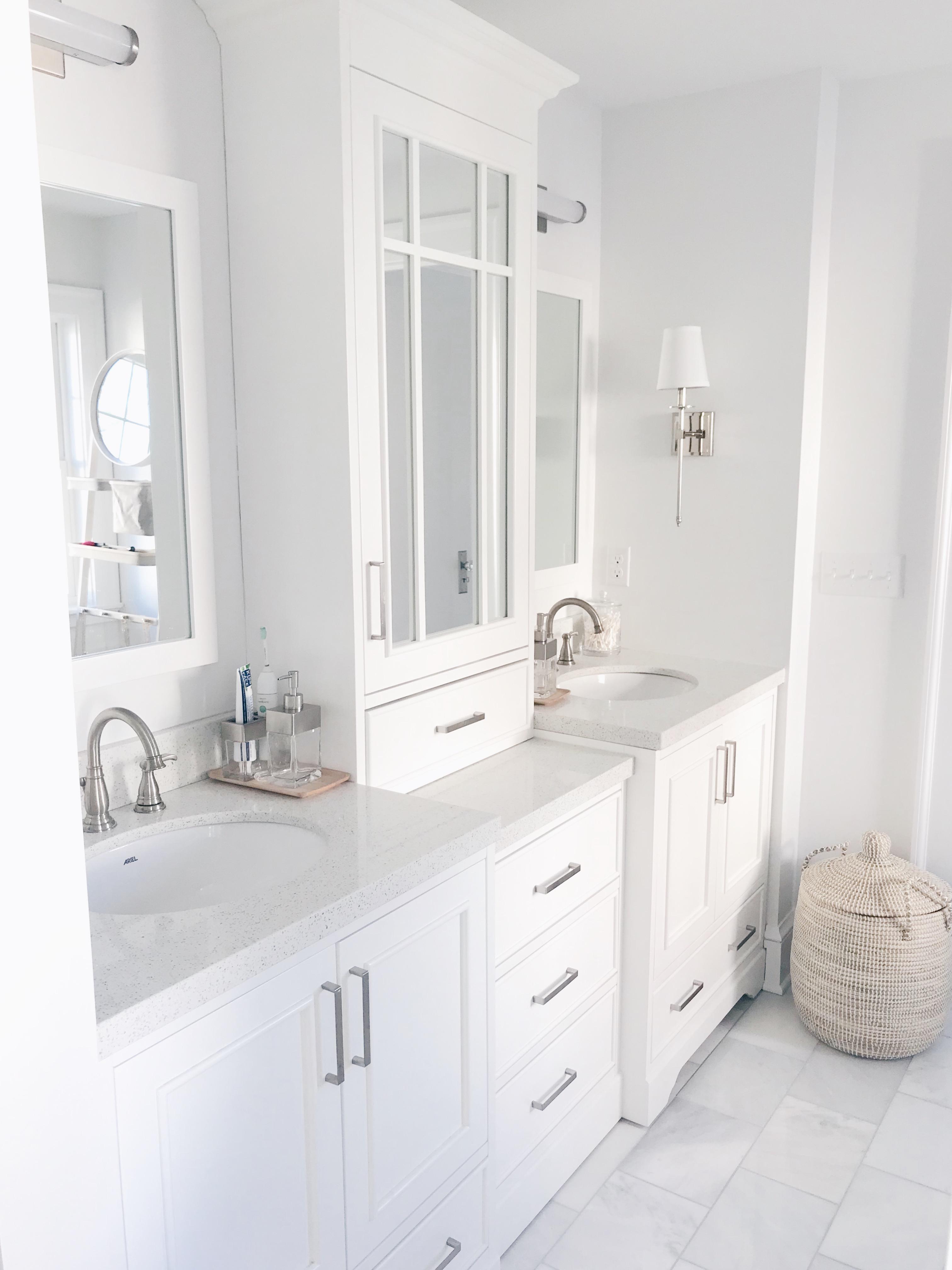 custom look white vanity with tower under $3,000 on pinteresting plans blog