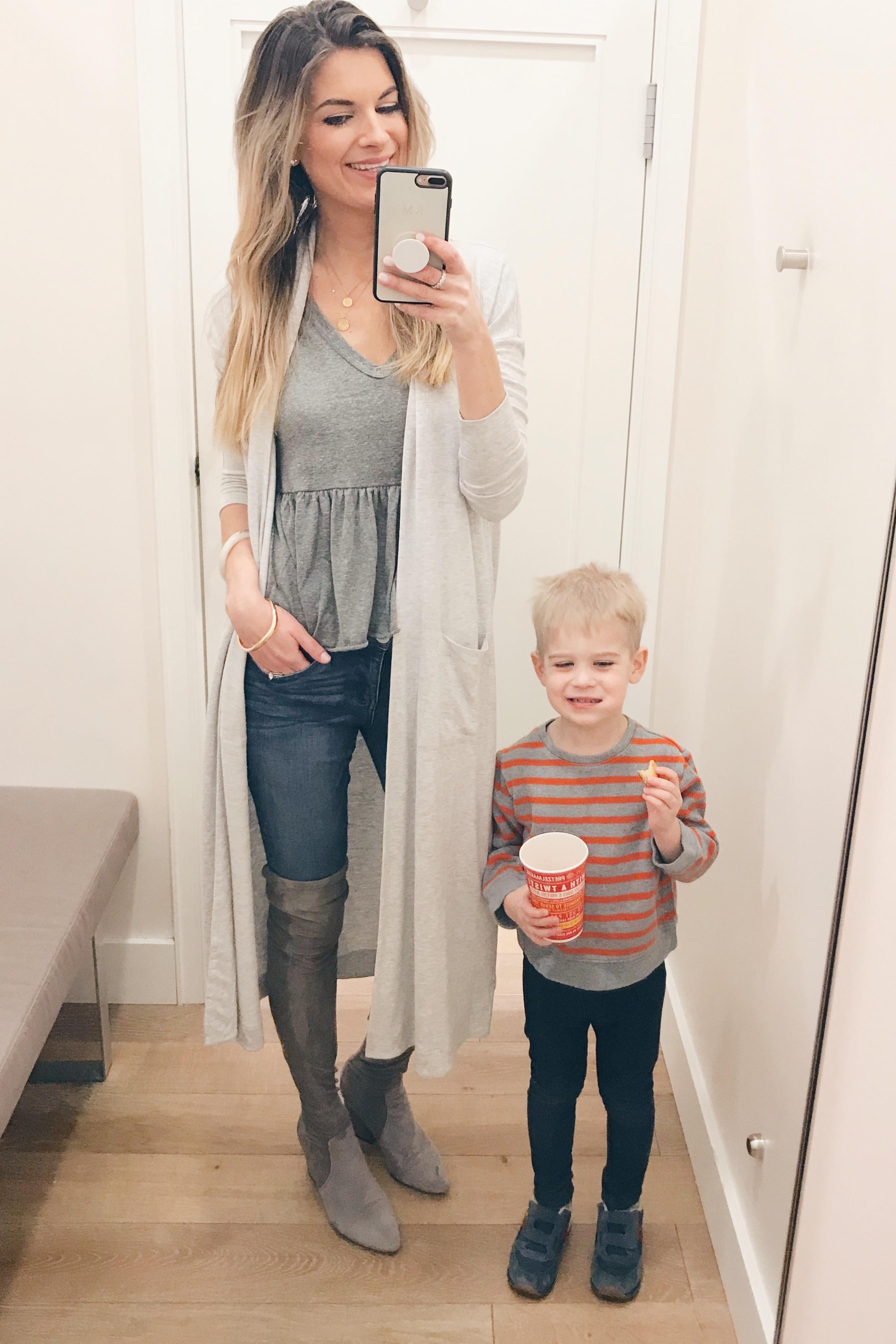 loft sale picks january 2019 - duster cardigan in gray