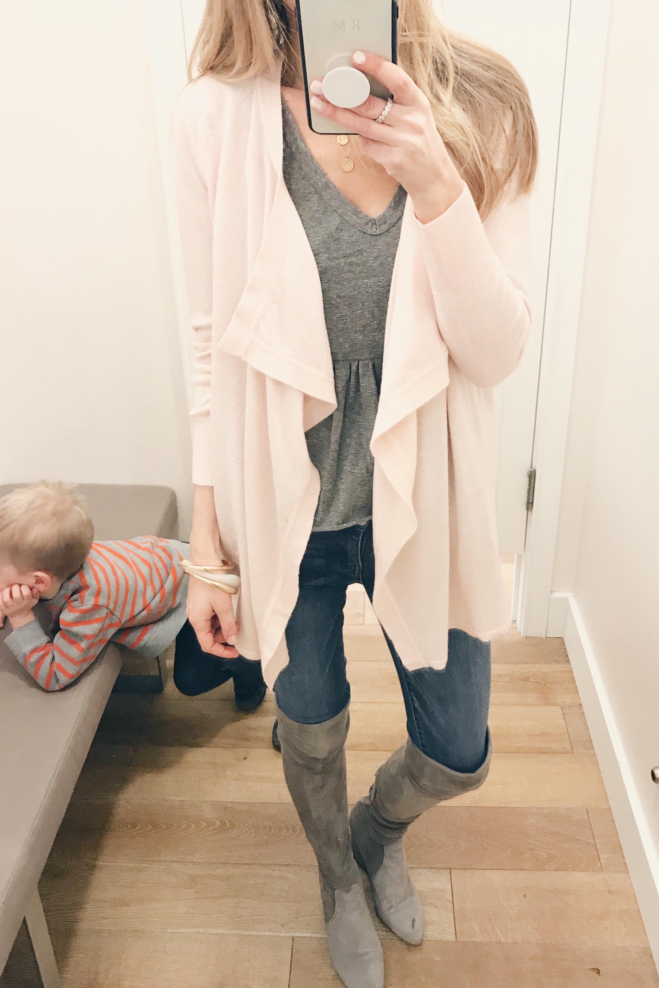 loft sale picks january 2019 - pink drape front cardigan