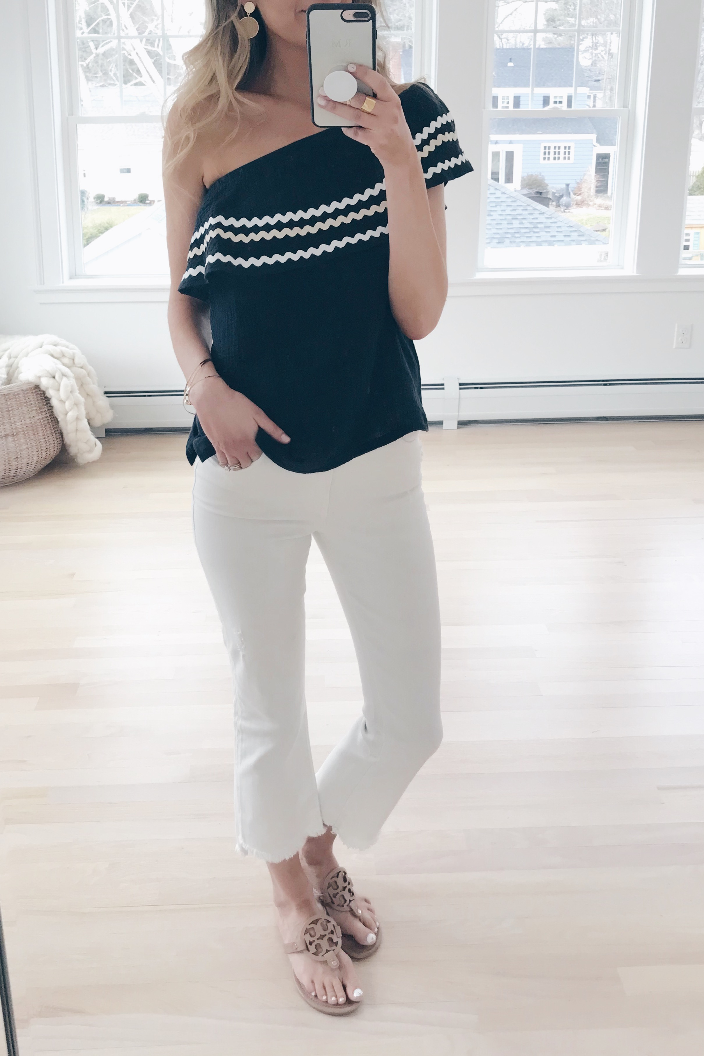 reosrt wear 2019 - black one shoulder gibson top and cropped white jeans on pinteresting plans blog