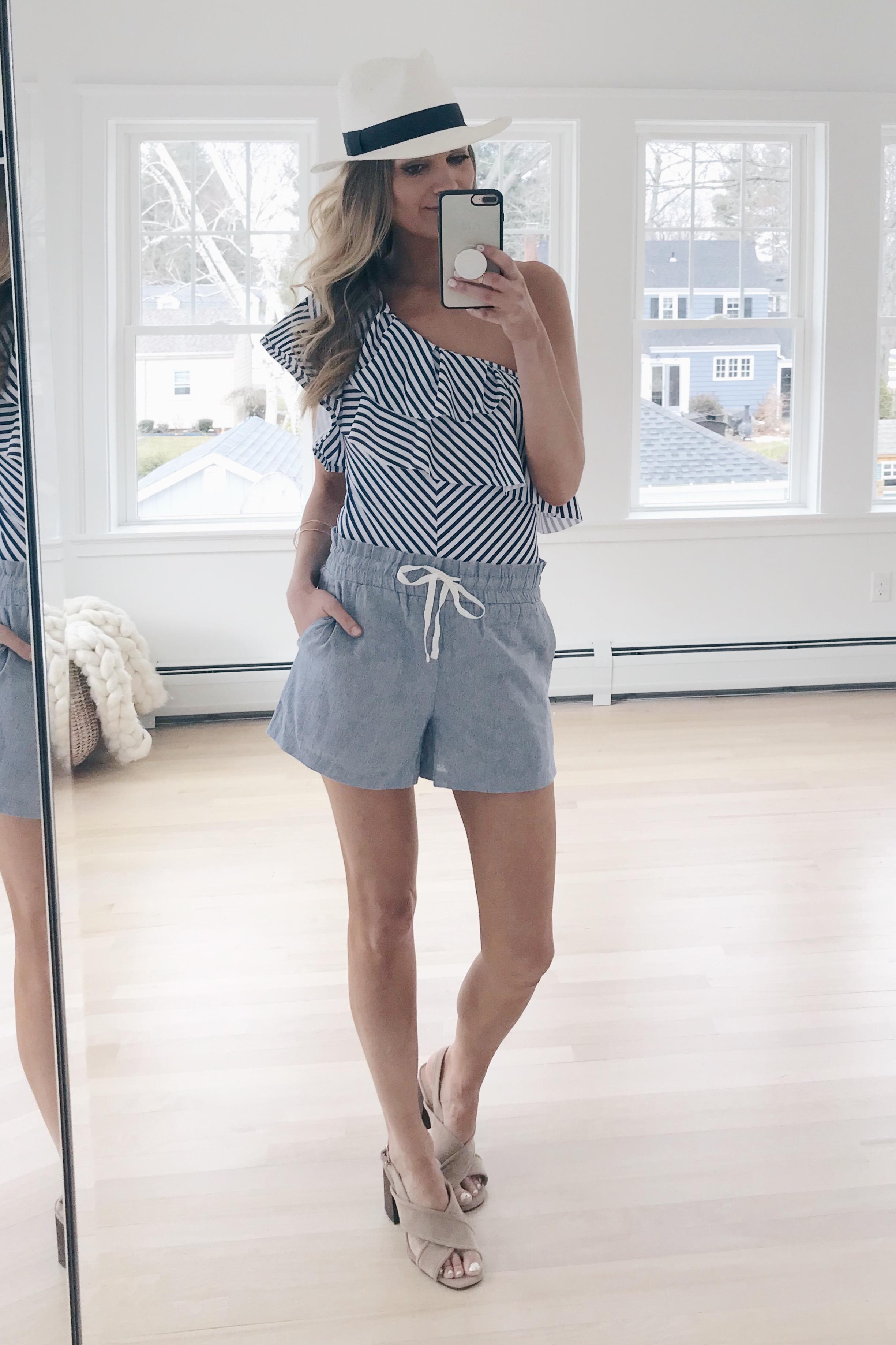 resort wear 2019 - striped one shoulder one piece bathing suit on pinteresting plans blog