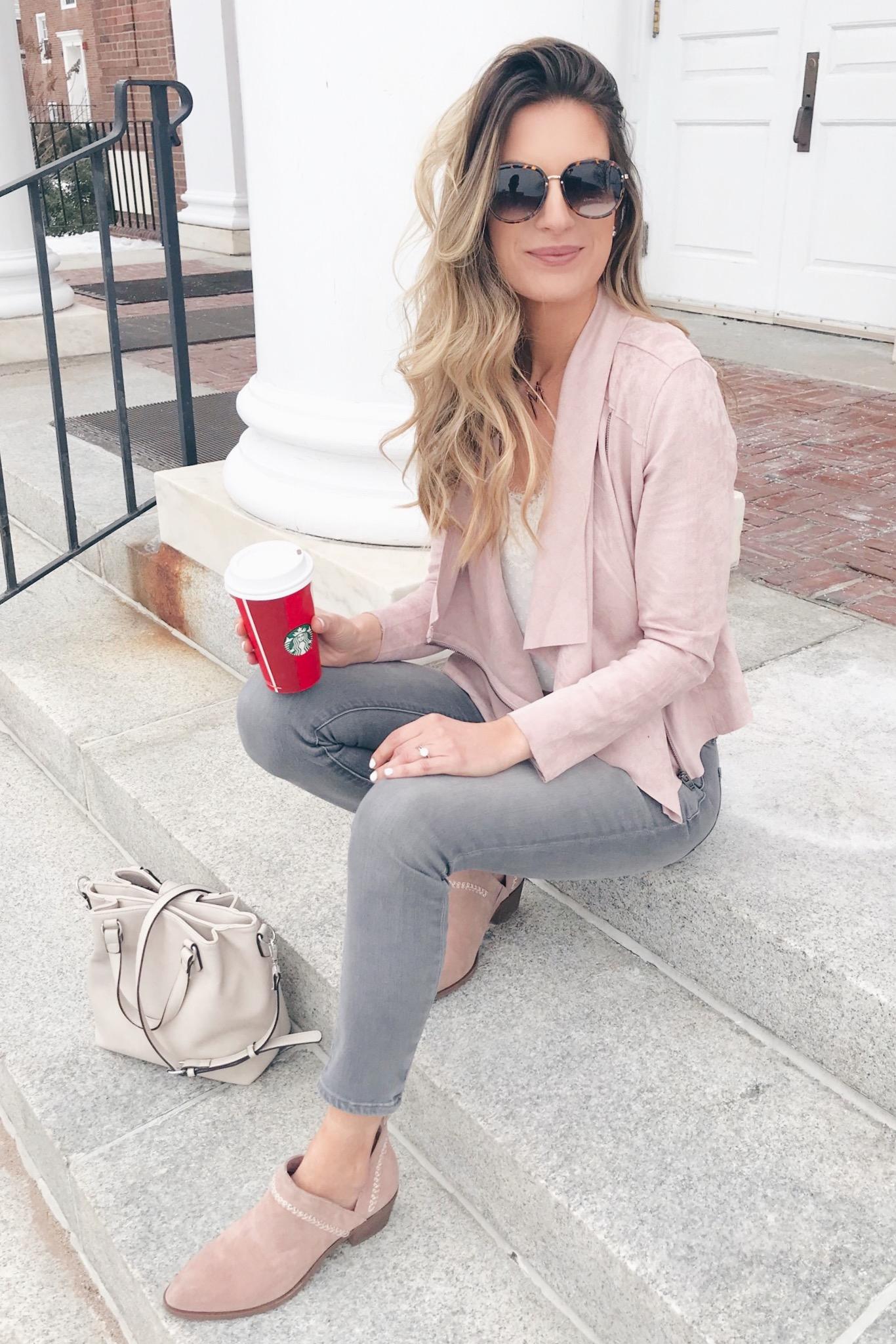 blush pink spring moto jacket and spring booties on pinteresting plans blog