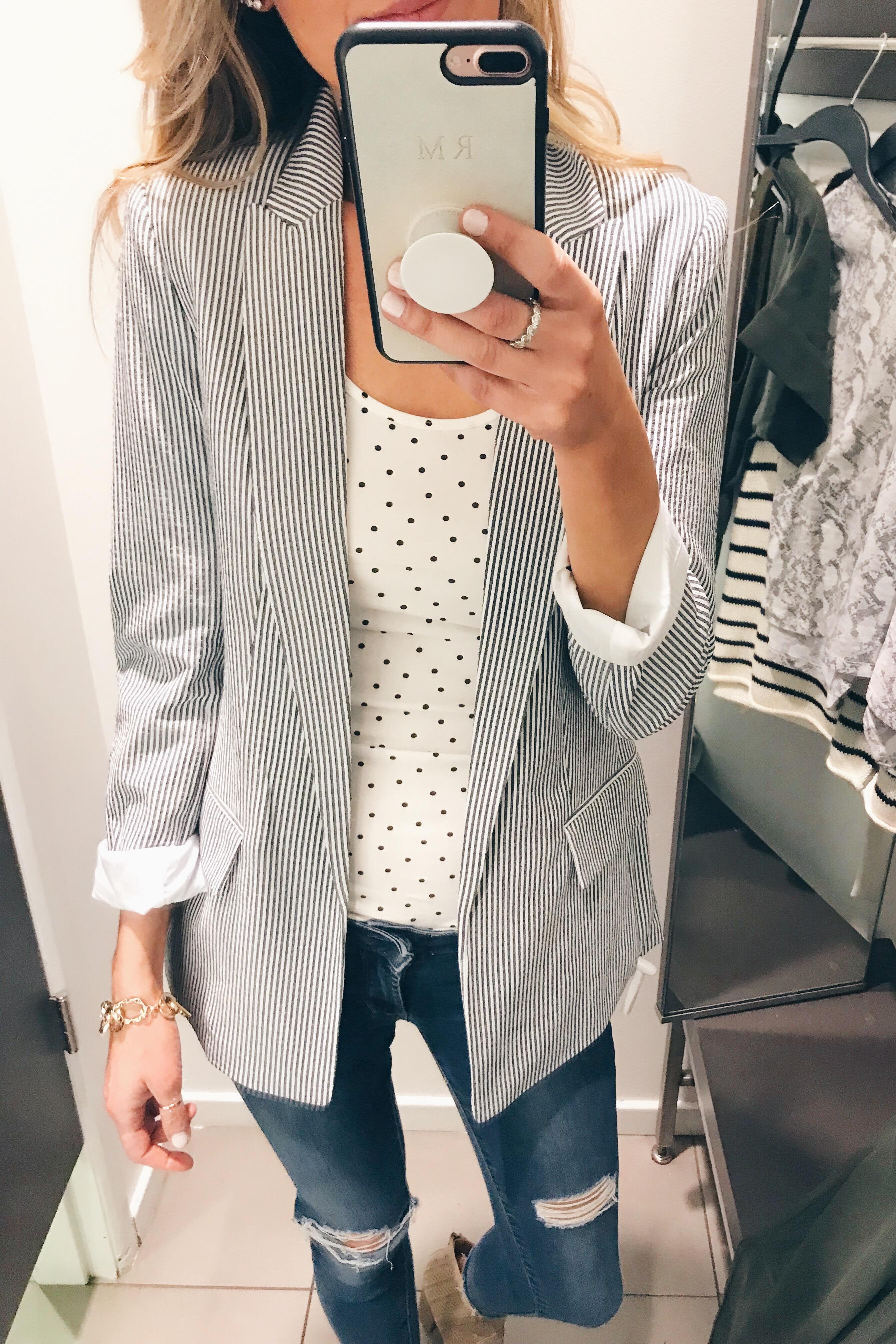 hm try on - striped blazer on Pinteresting Plans blog