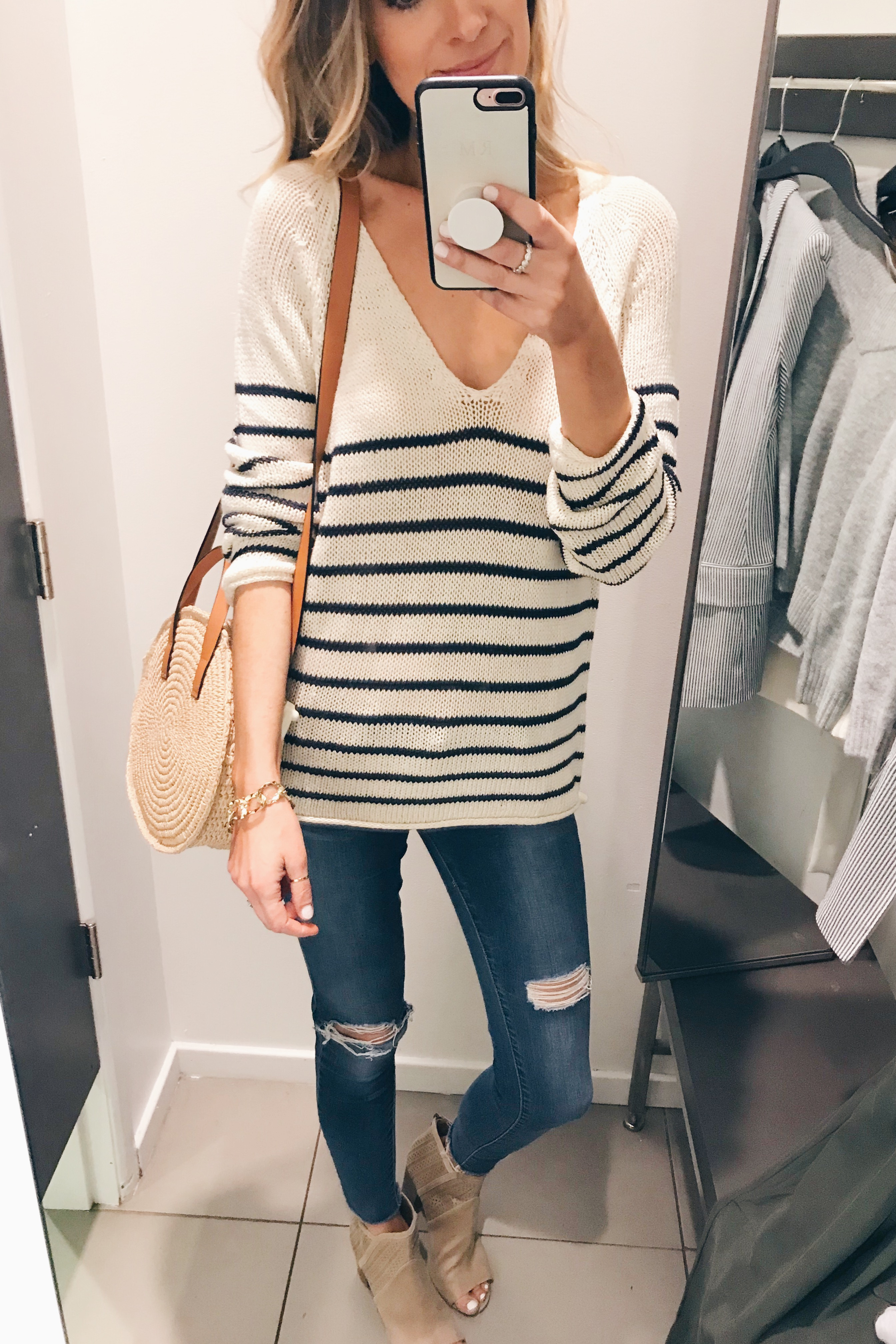 loose knit striped spring sweater on Pinteresting Plans blog