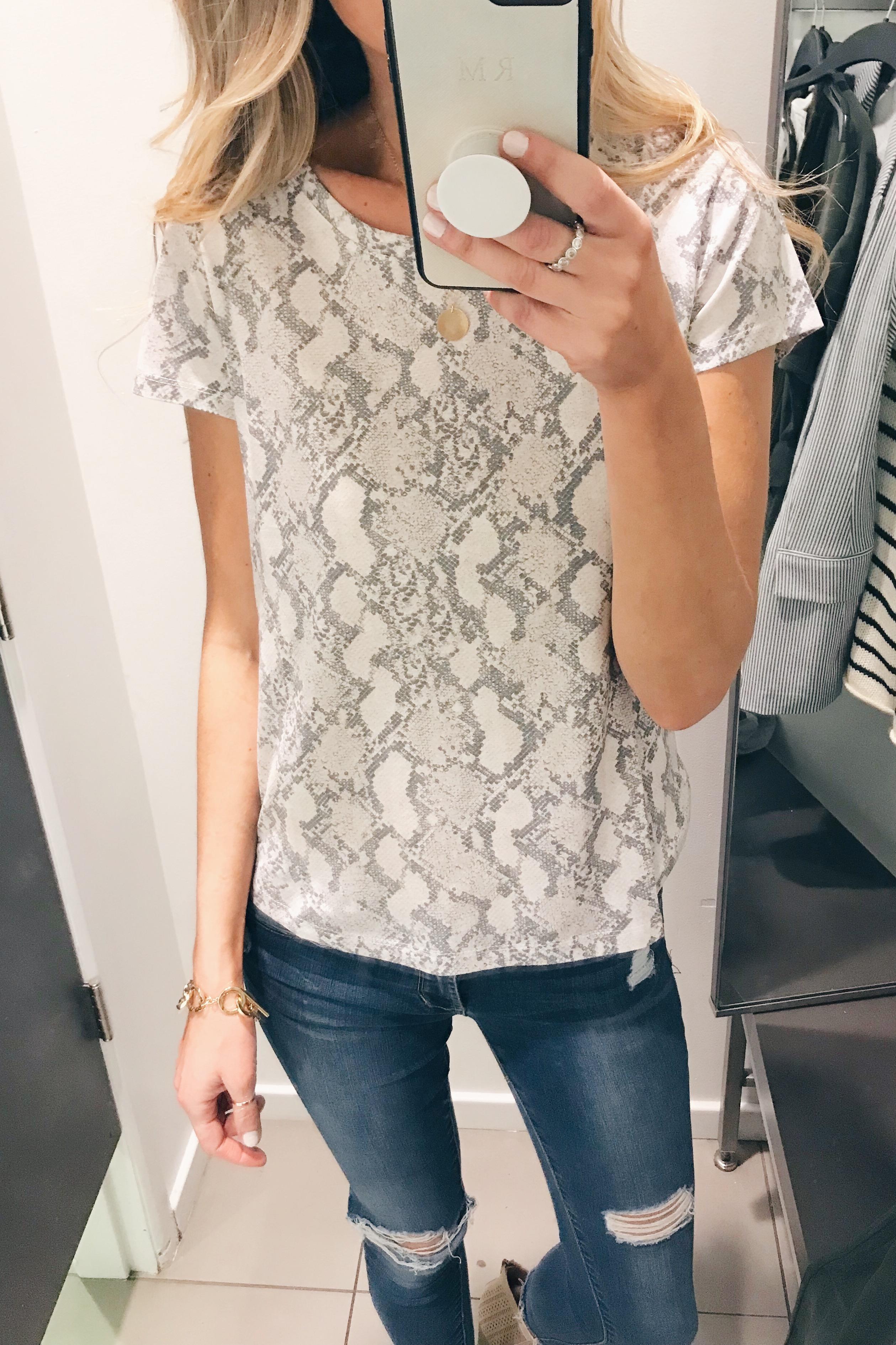 hm try-on snakeskin print tee shirt - Pinteresting Plans blog