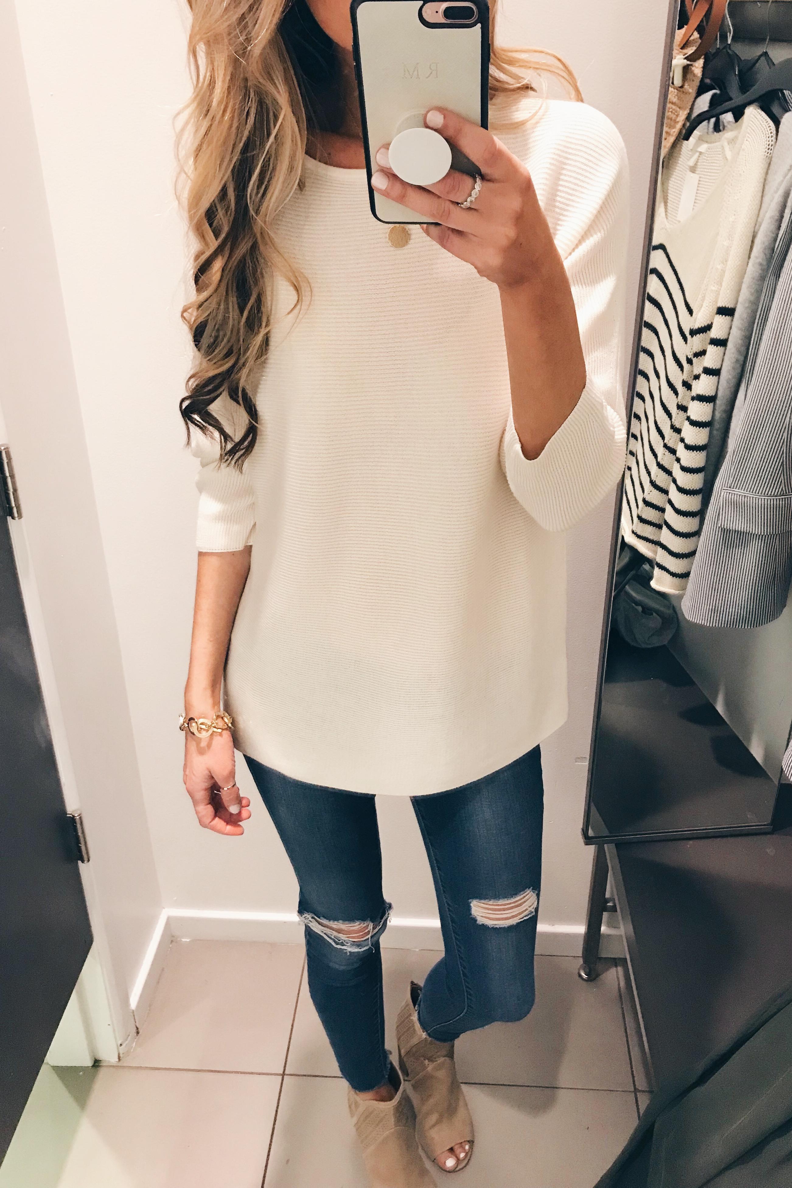 women's white knit tunic - hm try on - Pinteresting Plans blog