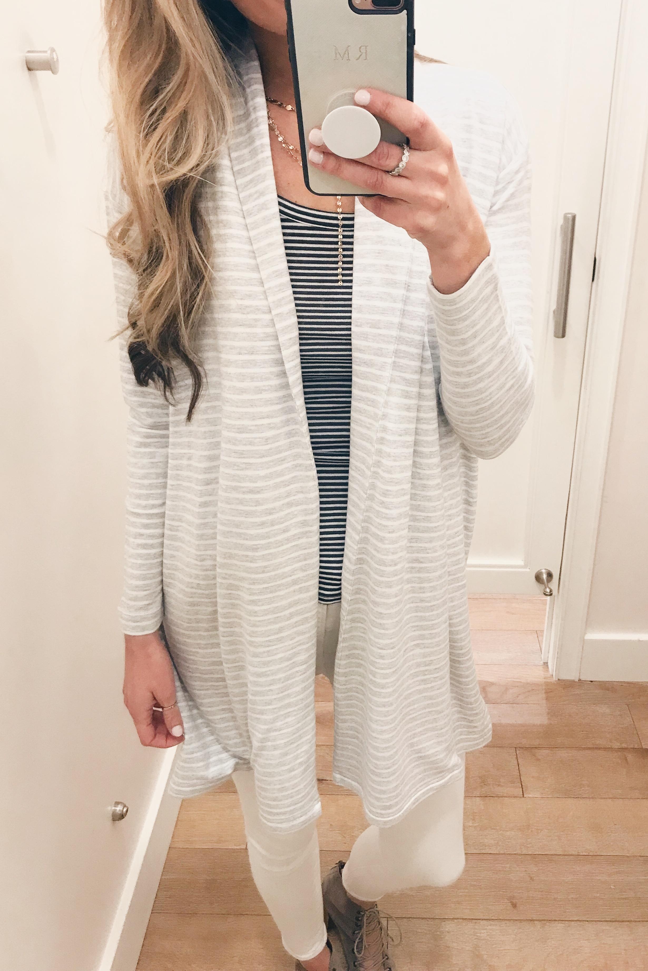 striped open lounge cardigan on Pinteresting Plans connecticut fashion blog