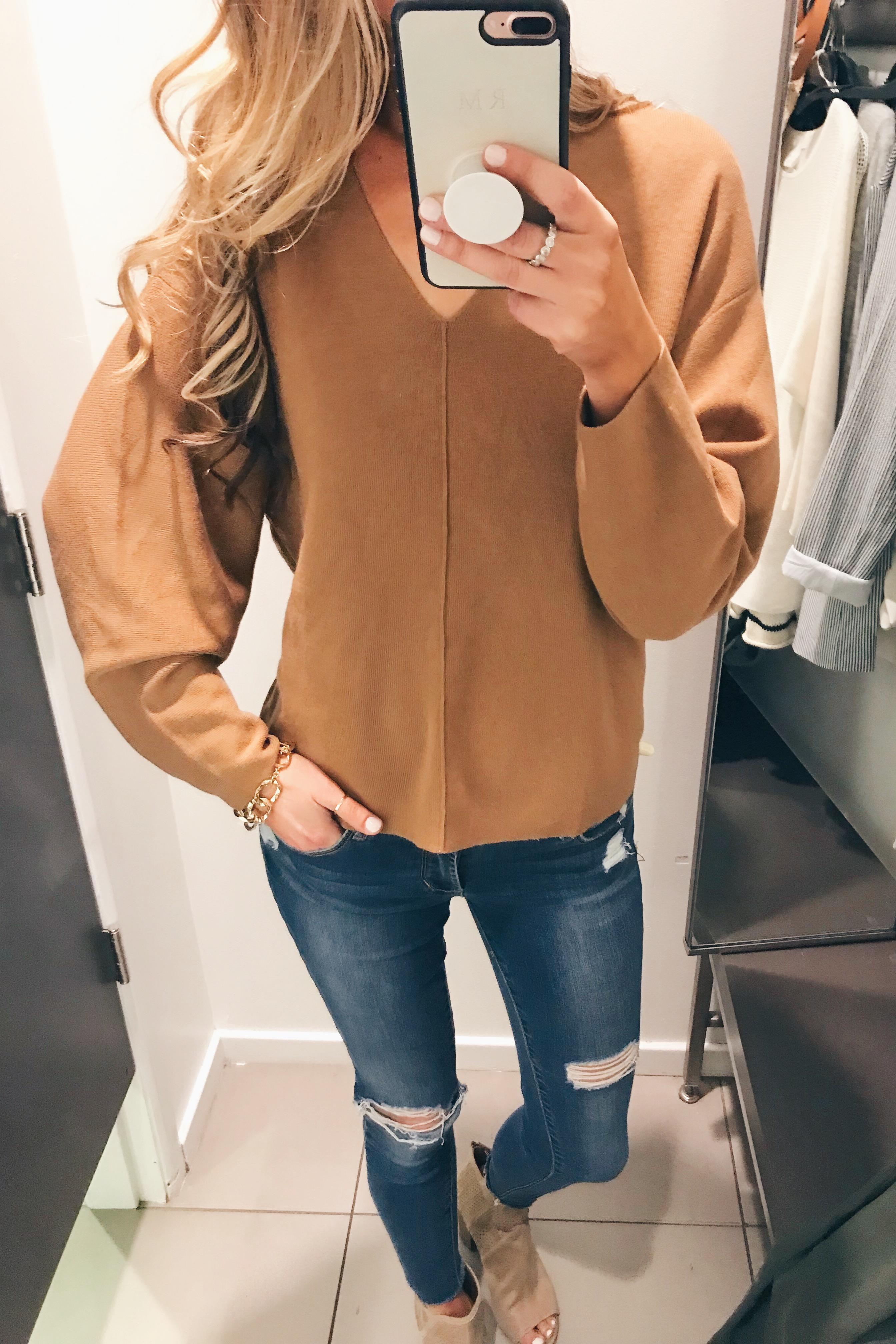 too oversized camel sweater on Pinteresting Plans blog