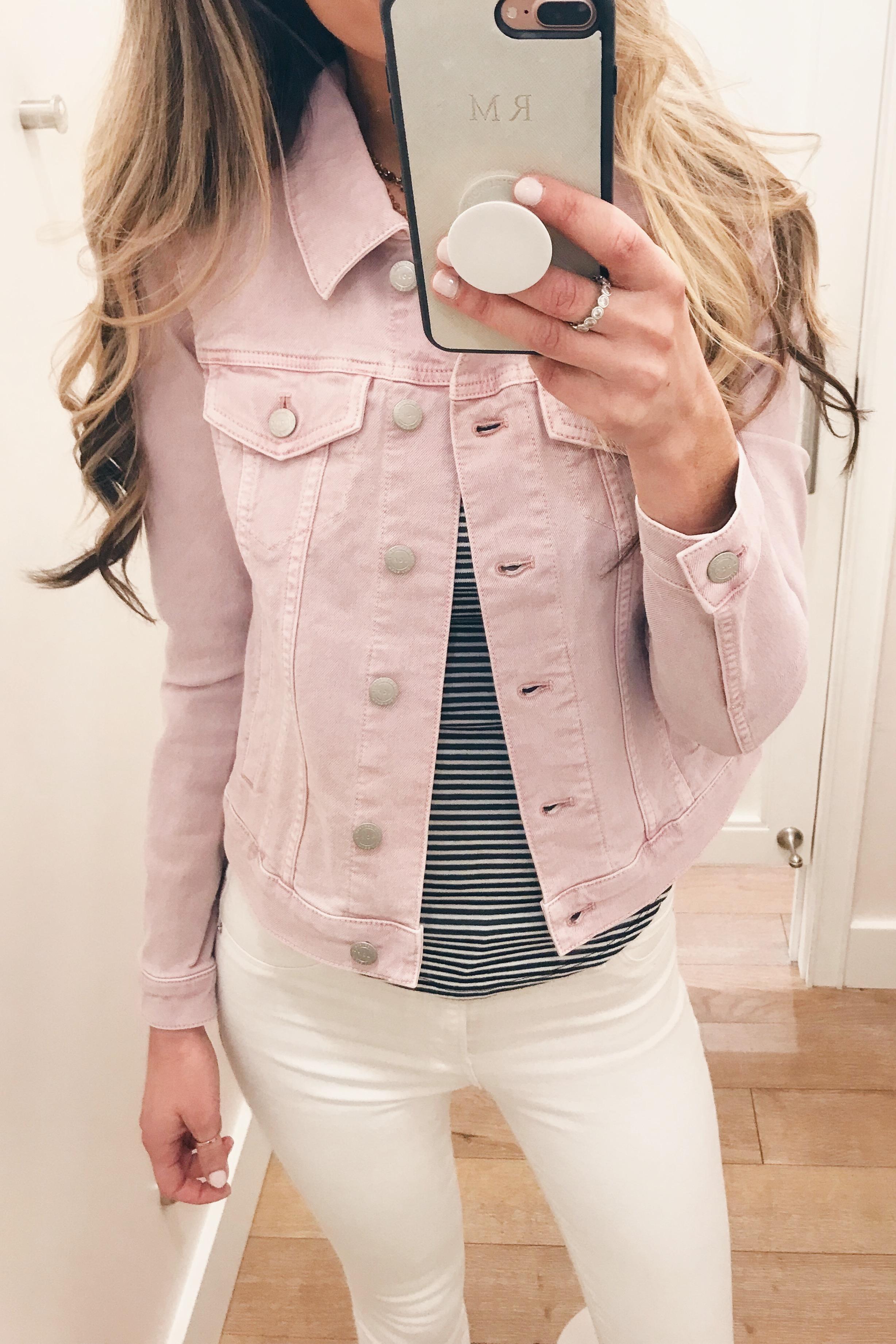 cropped pink denim spring jacket on Pinteresting Plans fashion blog