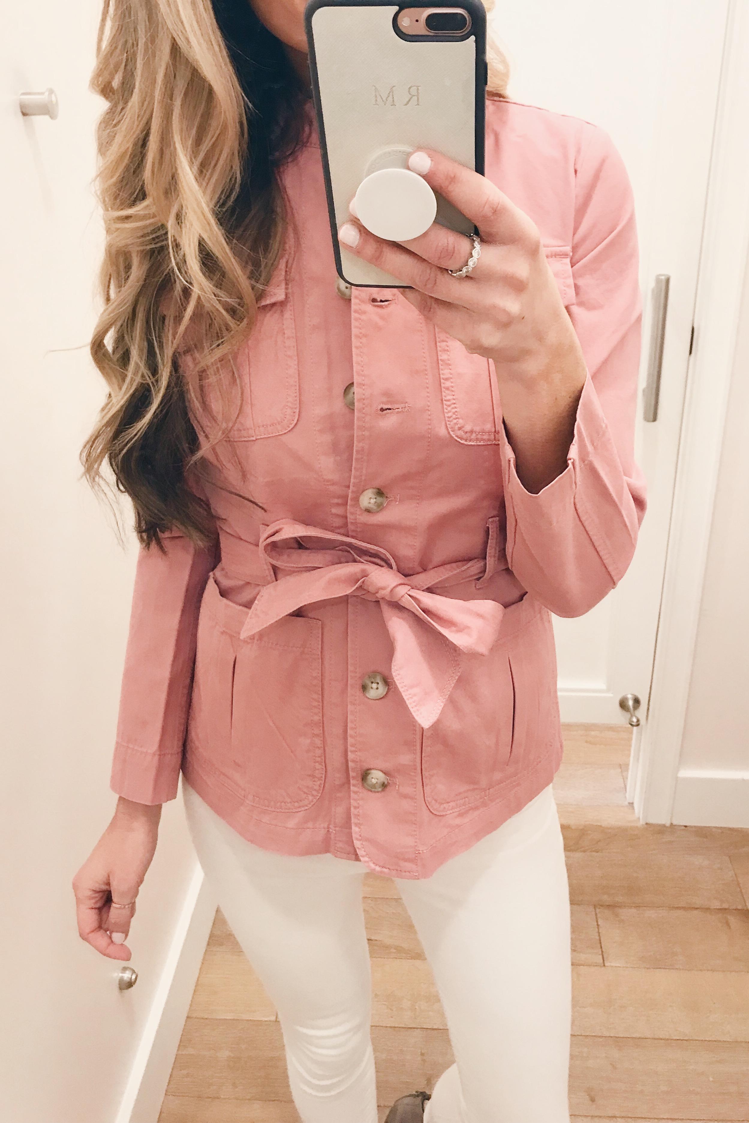 pink spring belted jacket on Pinteresting Plans fashion blog