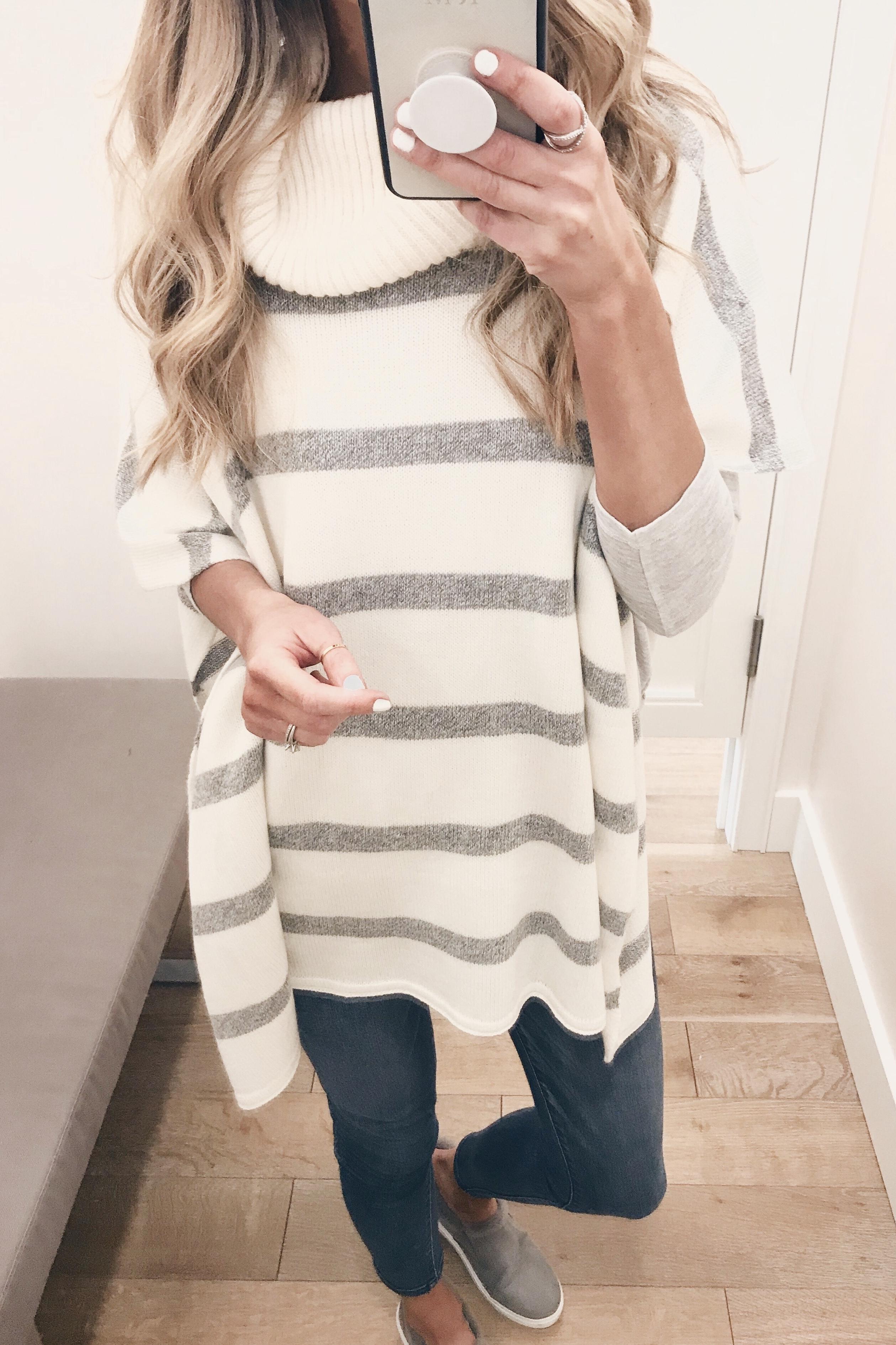 striped poncho on Pinteresting Plans fashion blog