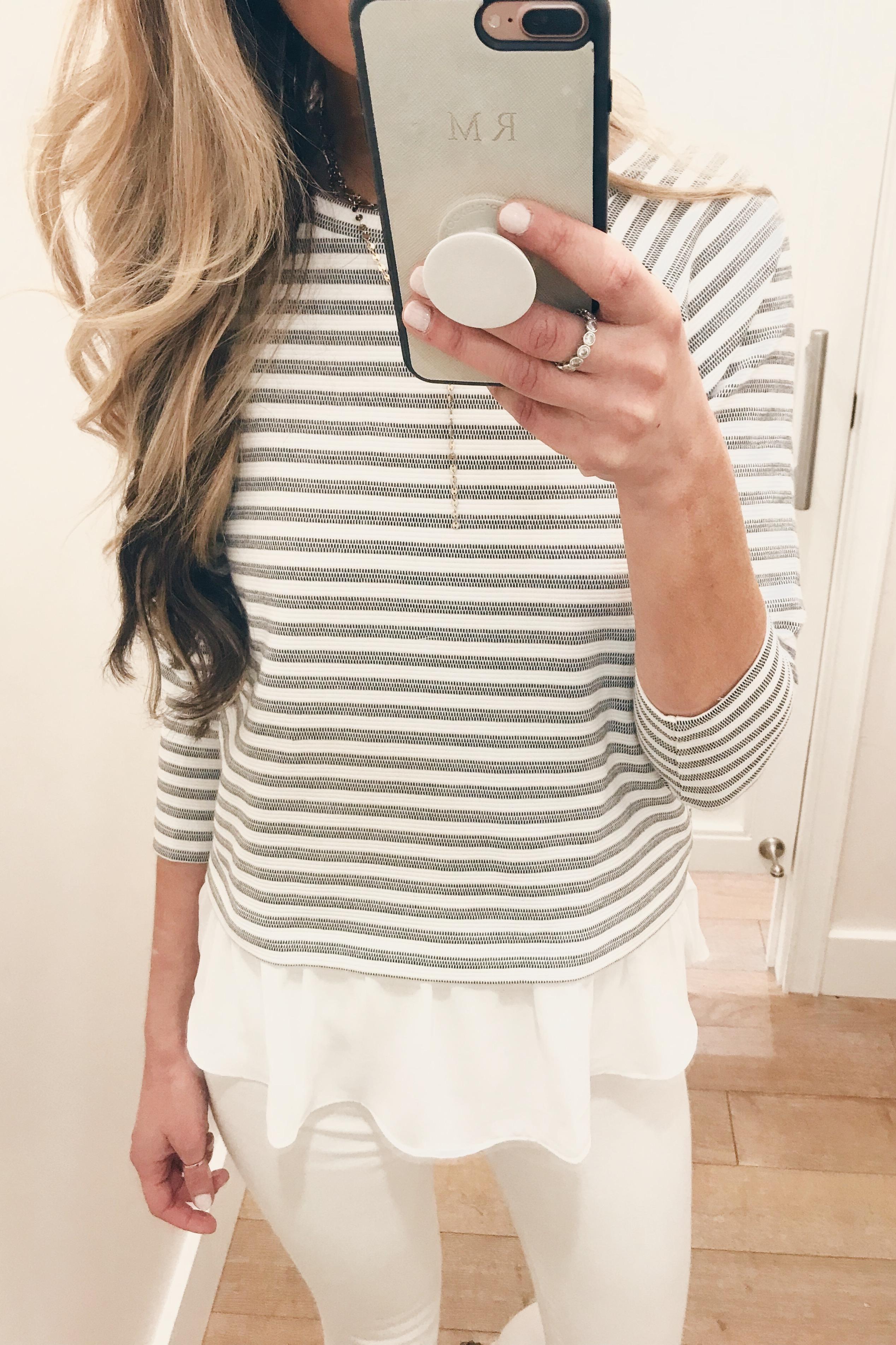 loft sale try on - striped peplum top on Pinteresting Plans blog