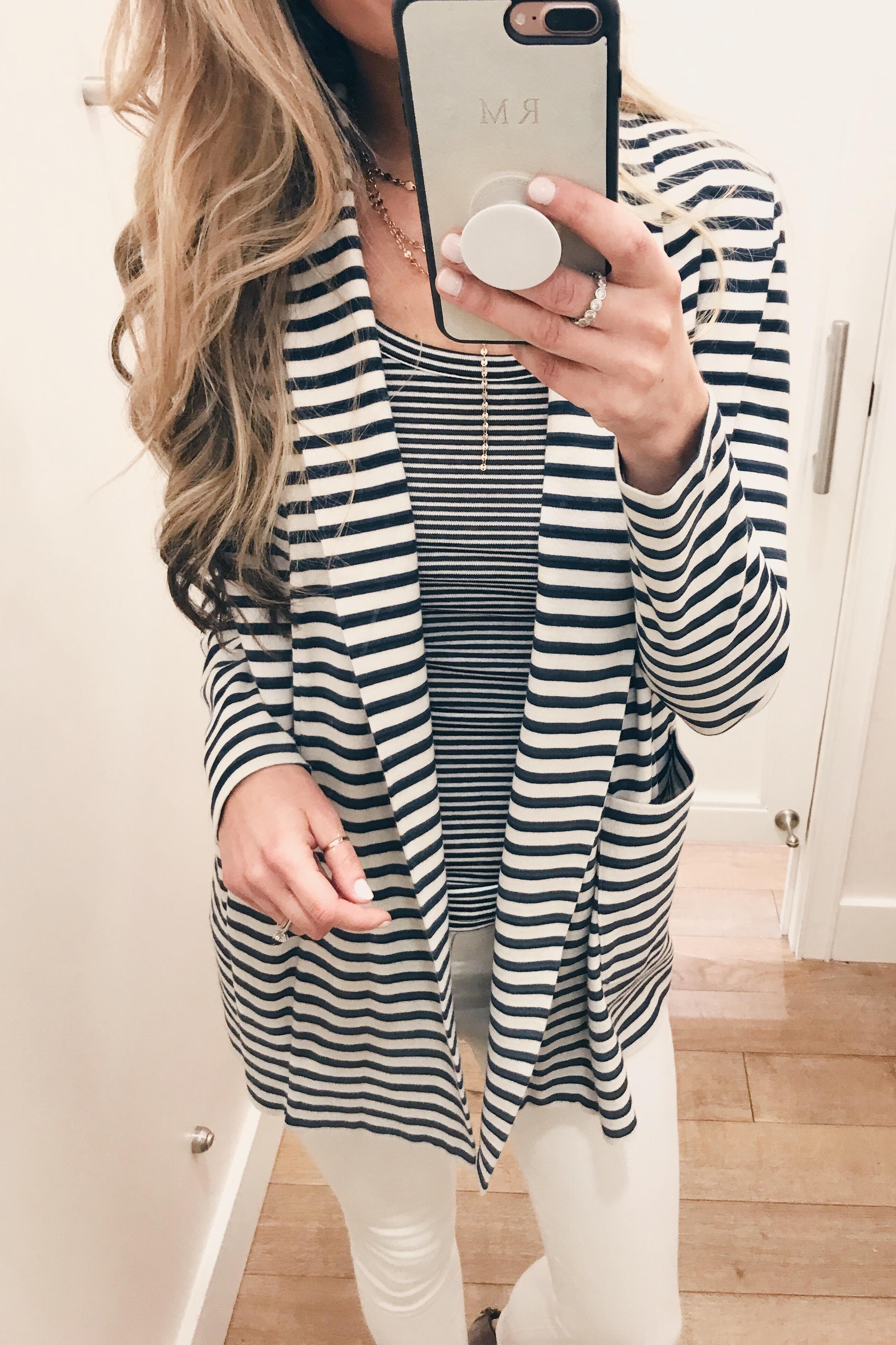 striped lounge blazer on Pinteresting Plans connecticut fashion blog