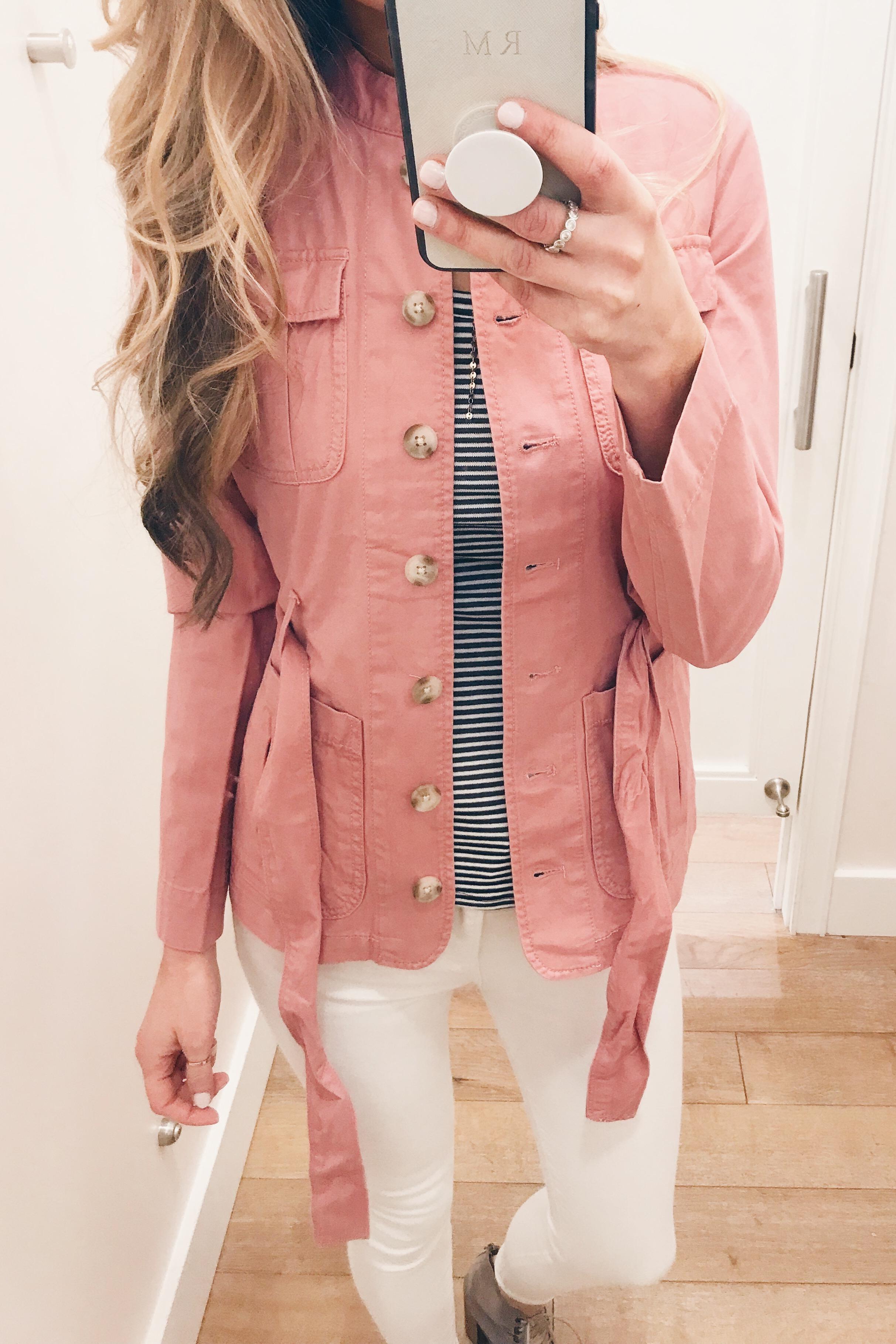 pink spring jacket unbelted on Pinteresting Plans connecticut fashion blog