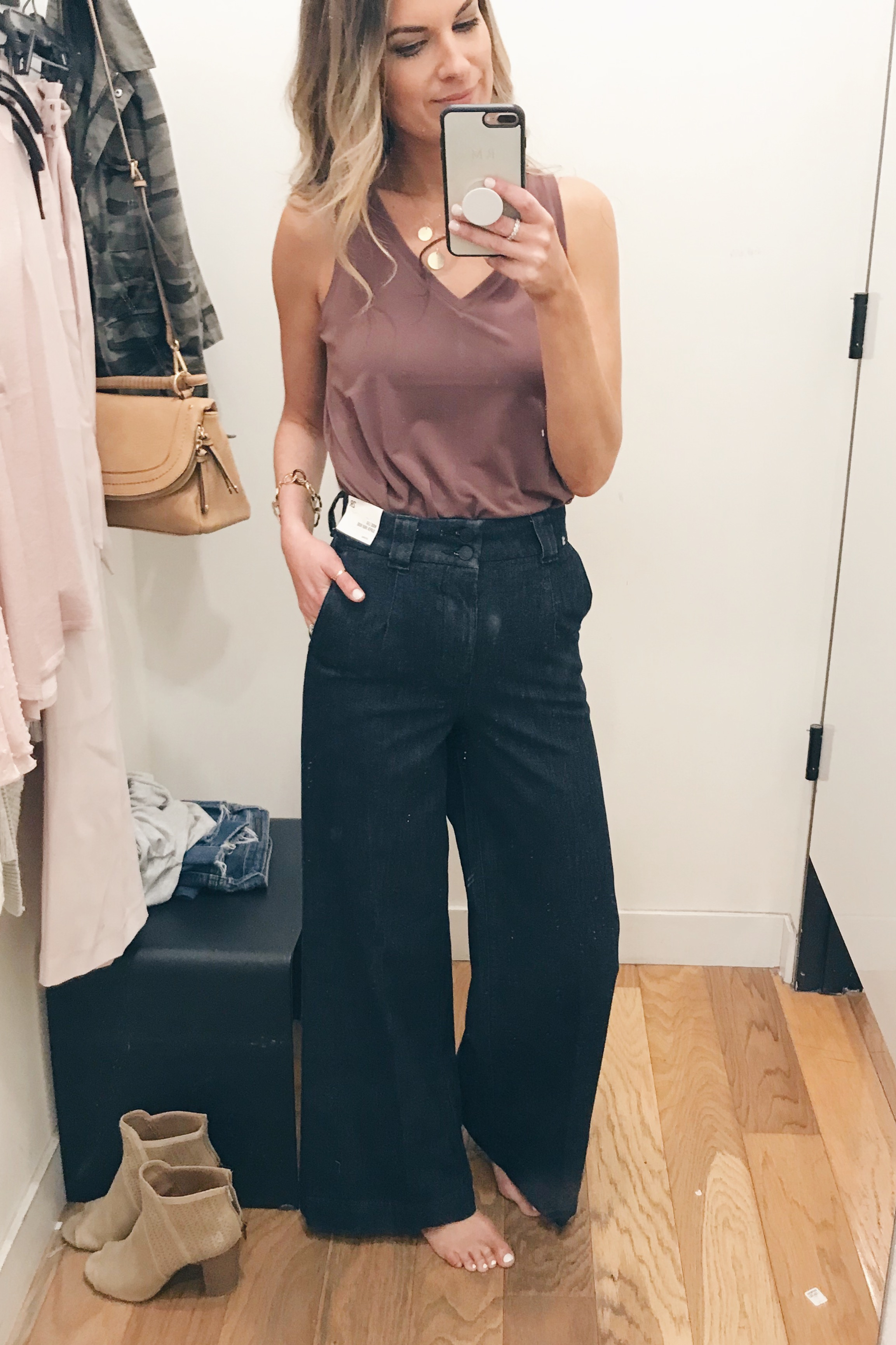 express march 2019 try-on - wide leg jeans and mauve tank on Pinteresting Plans fashion blog