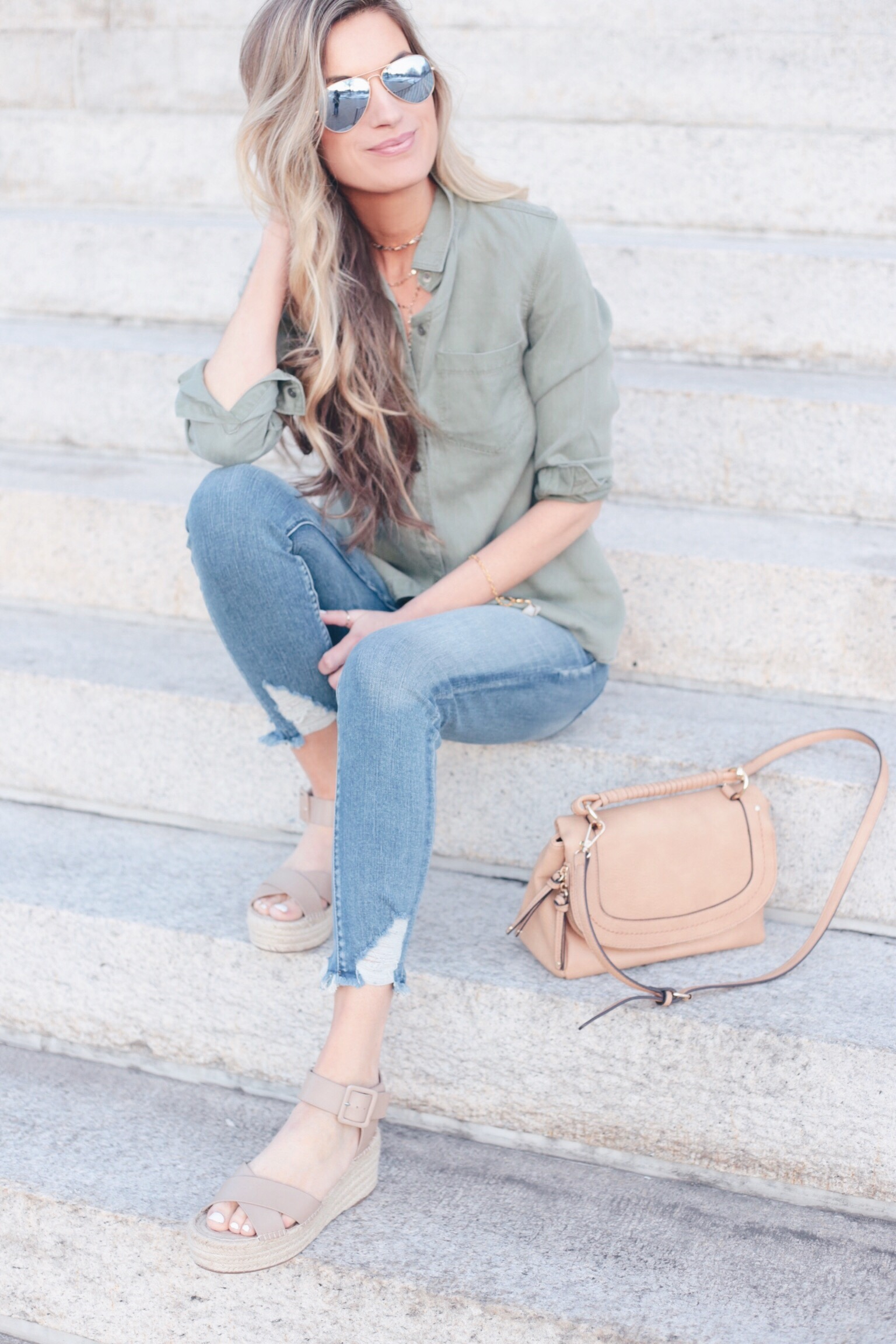 everyday spring outfit - tan espardrille platform sandals - pinteresting plans fashion blog