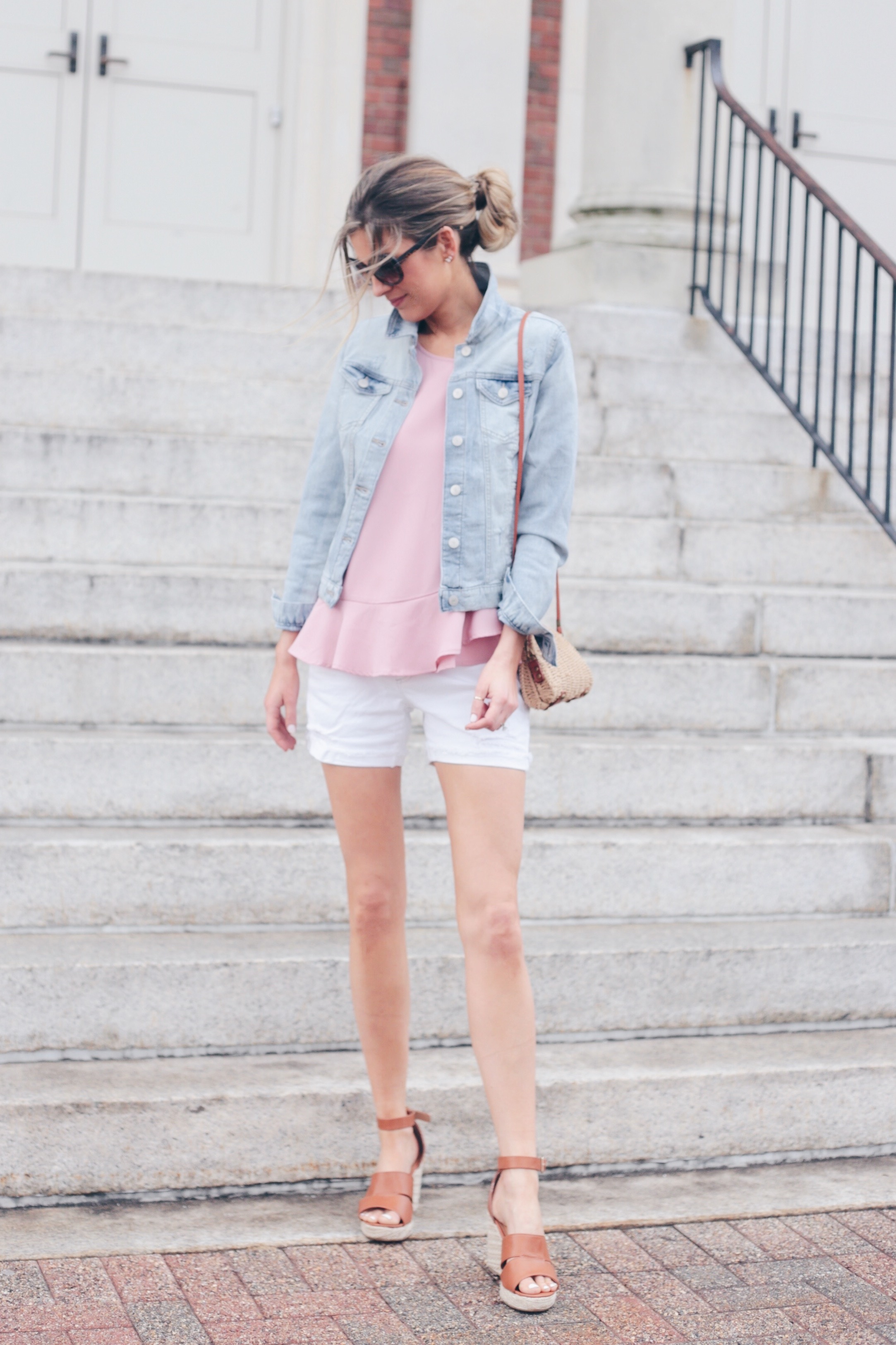 Spring Date Night Outfit Ideas | Jean Jacket and White SHorts