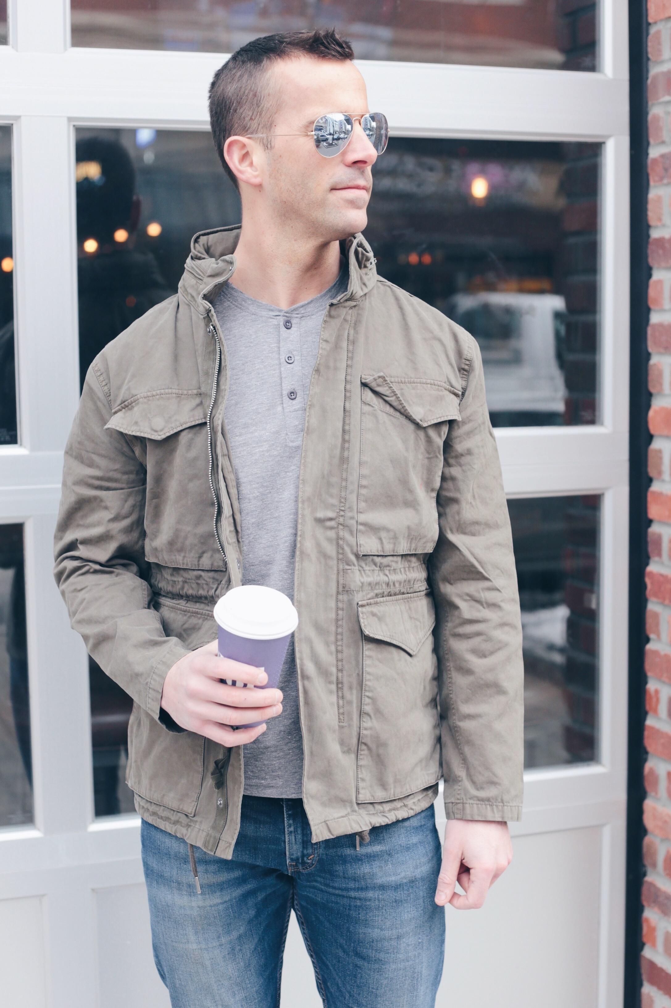 men's spring capsule wardrobe 2019 - men's utility jacket outfit
