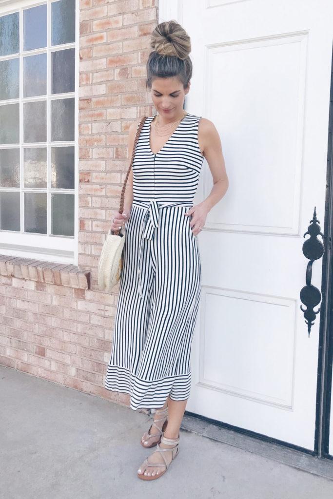 affordable spring dresses for easter 2019 - striped jumpsuit - mom friendly easter attire on pinteresting plans blog