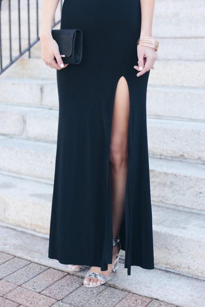 affordable spring dresses - spring wedding guest black off the shoulder dress with large leg slit on pinterestingplans blog