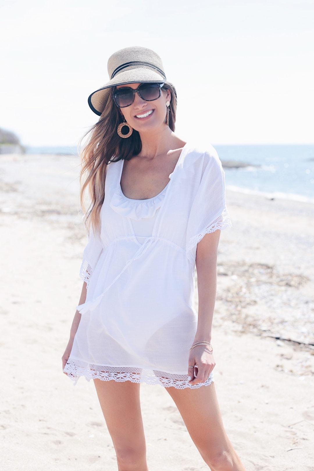affordable women's swimwear - white swim coverup on Pinteresting Plans fashion blog