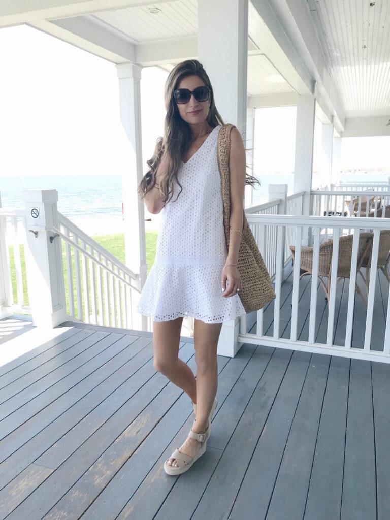 spring travel outfits 2019 - white eyelet sundress on pinteresting plans fashion blog