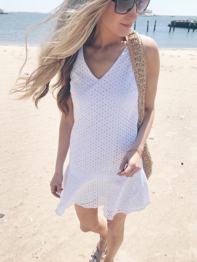 spring travel outfits 2019 - white eyelet tank dress on pinteresting plans fashion blog