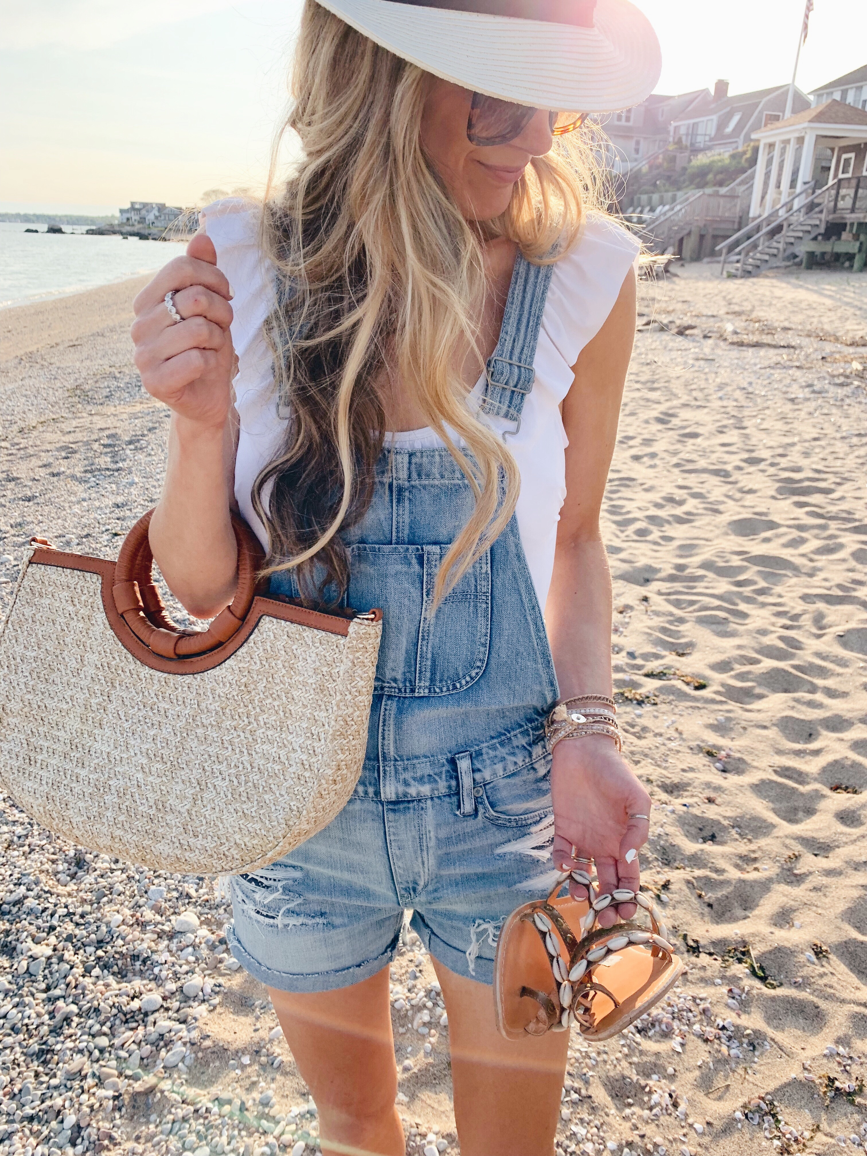 memorial day weekend sales and outfit ideas - overall shorts as a swim coverup - pinteresting plans connecticut fashion blogger