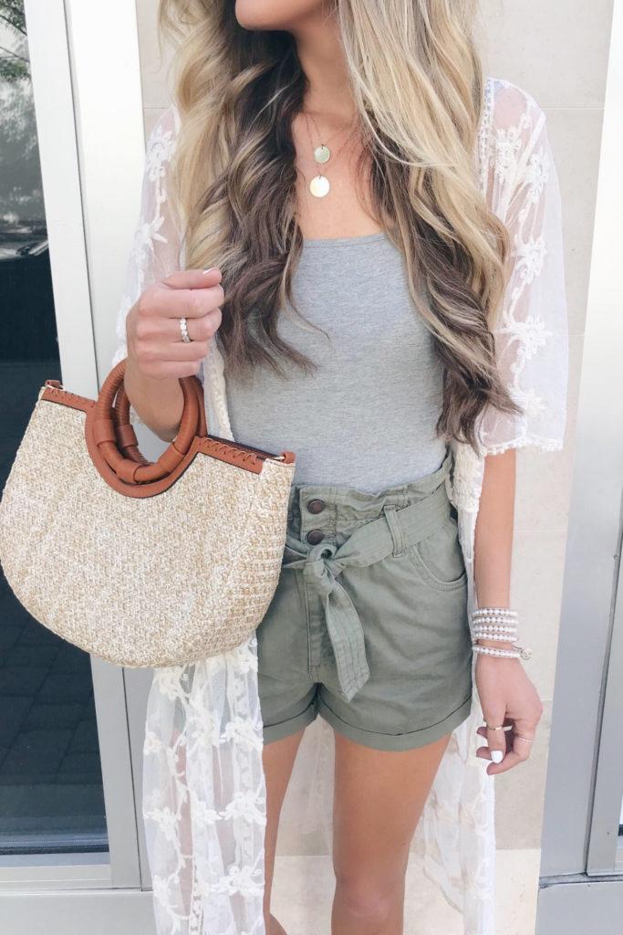 statement summer accessories - straw bag on rachel moore connecticut fashion blogger