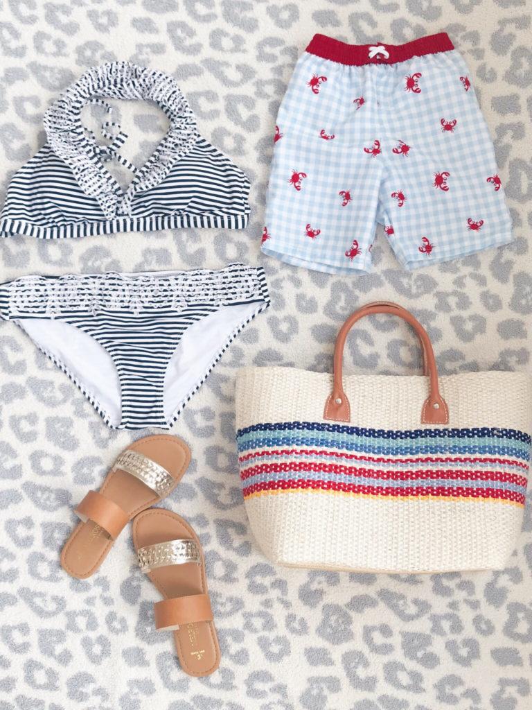 891090500bcb2 ... Striped Bikini Top (medium) // Striped Bikini Bottom (medium) // $21  Sandals (true to size) // Toddler Boy Swim Trunks (true to size) // Beach  Tote